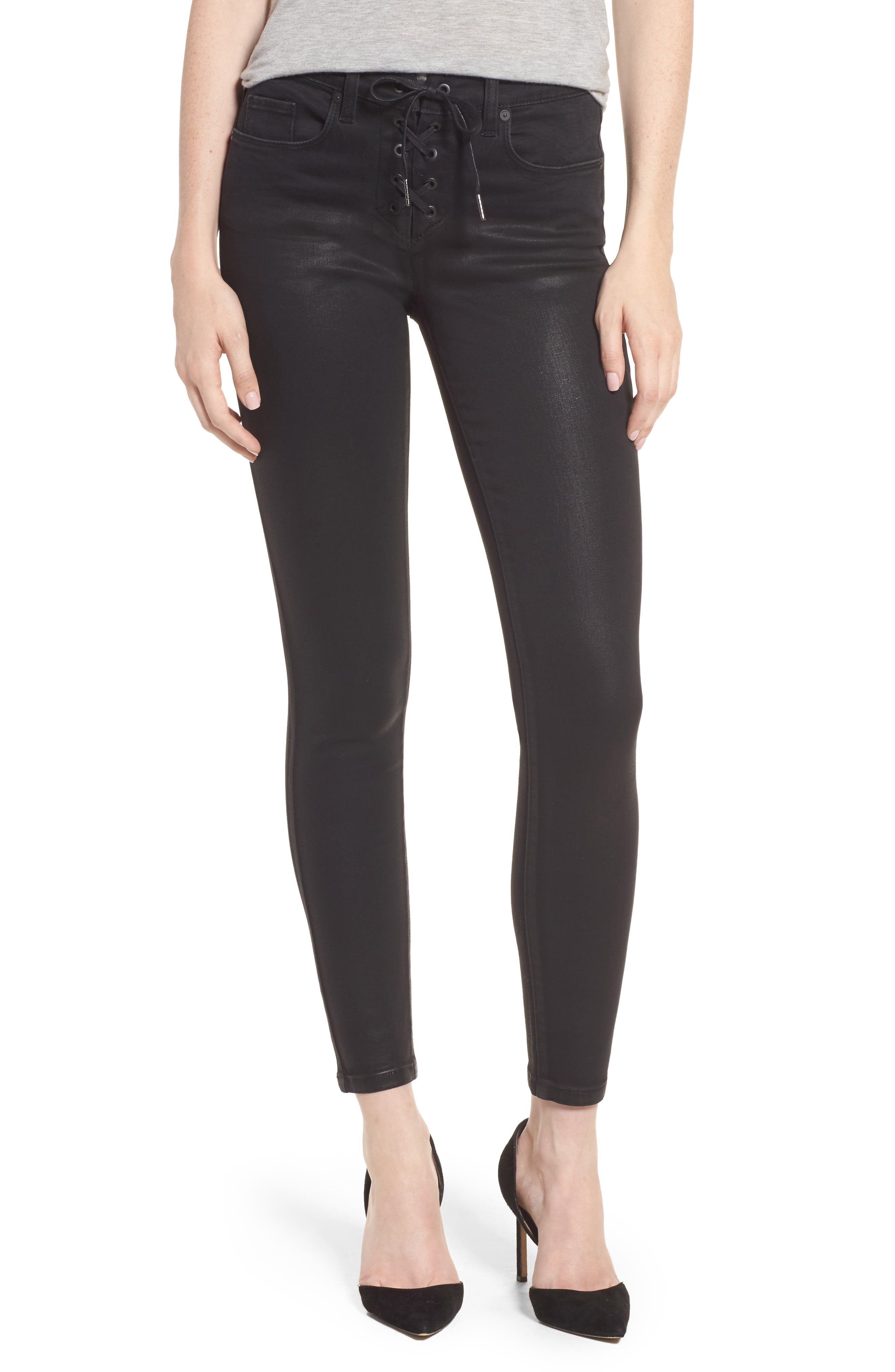 Alternate Image 1 Selected - BLANKNYC Black Jack Lace-Up Skinny Jeans (Smoked Out)
