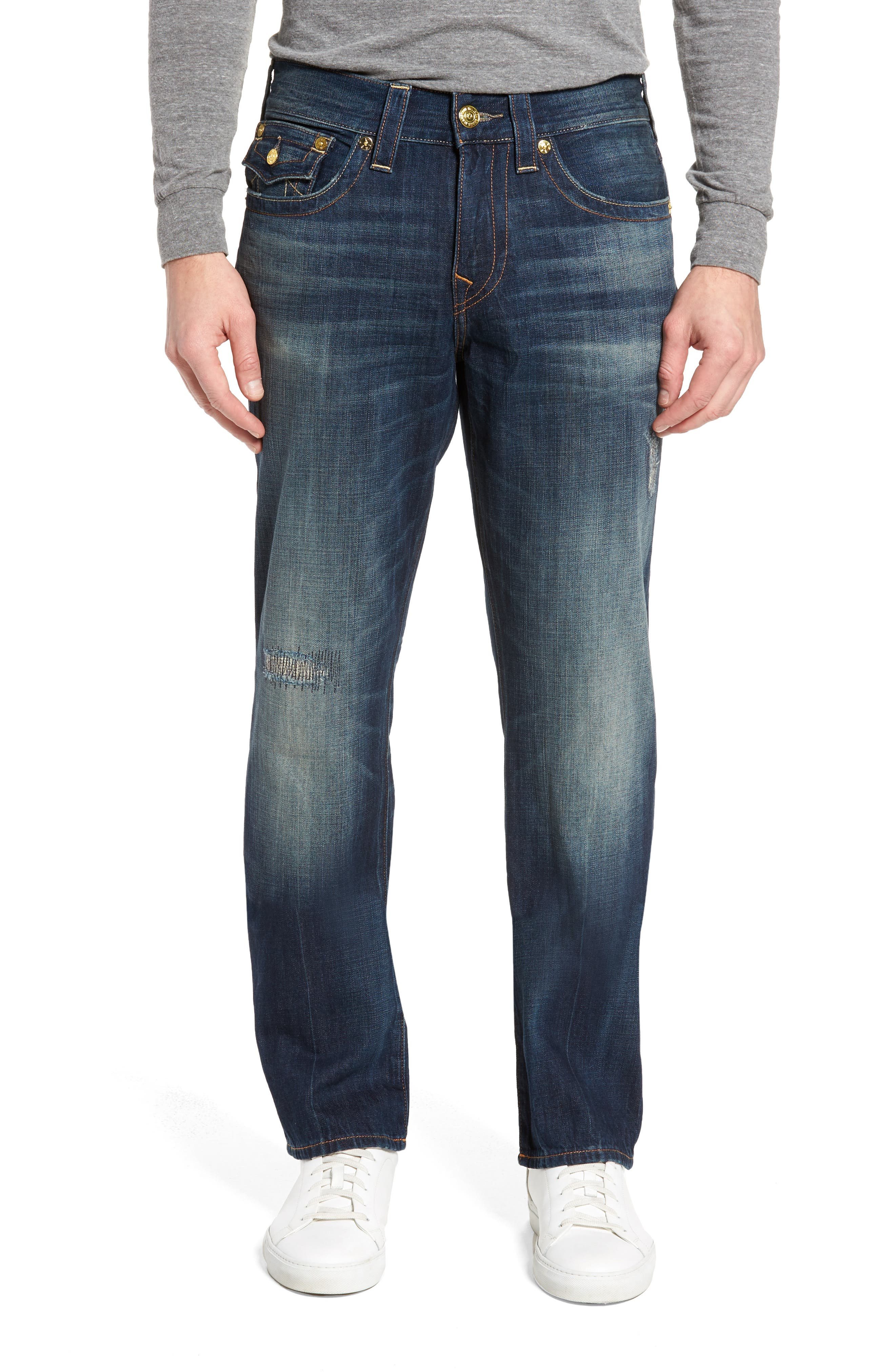 Alternate Image 1 Selected - True Religion Brand Jeans Geno Straight Leg Jeans (Mended Center Stage)