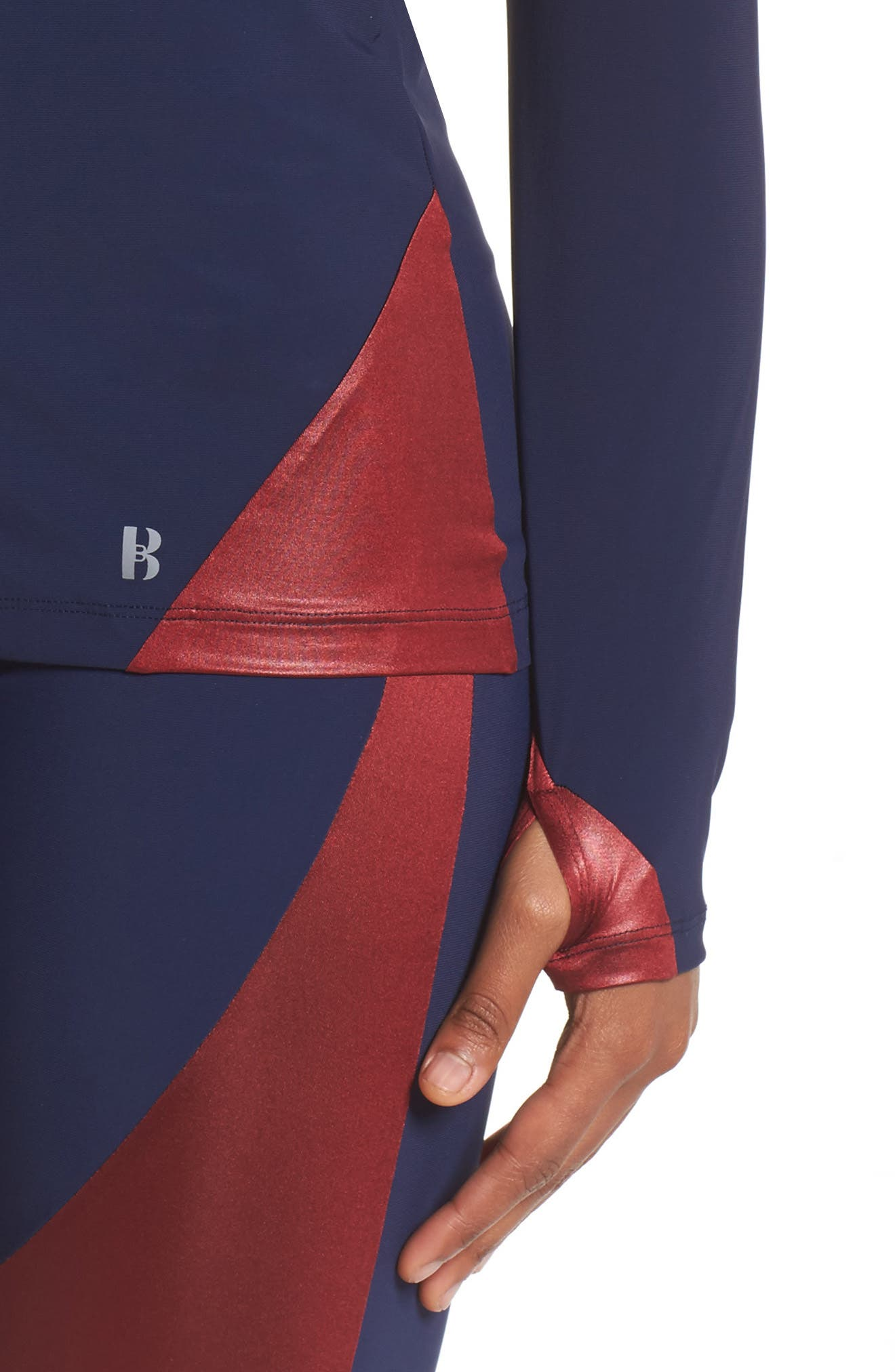 Compression Jacket,                             Alternate thumbnail 4, color,                             Navy/Oxblood/Rose Gold