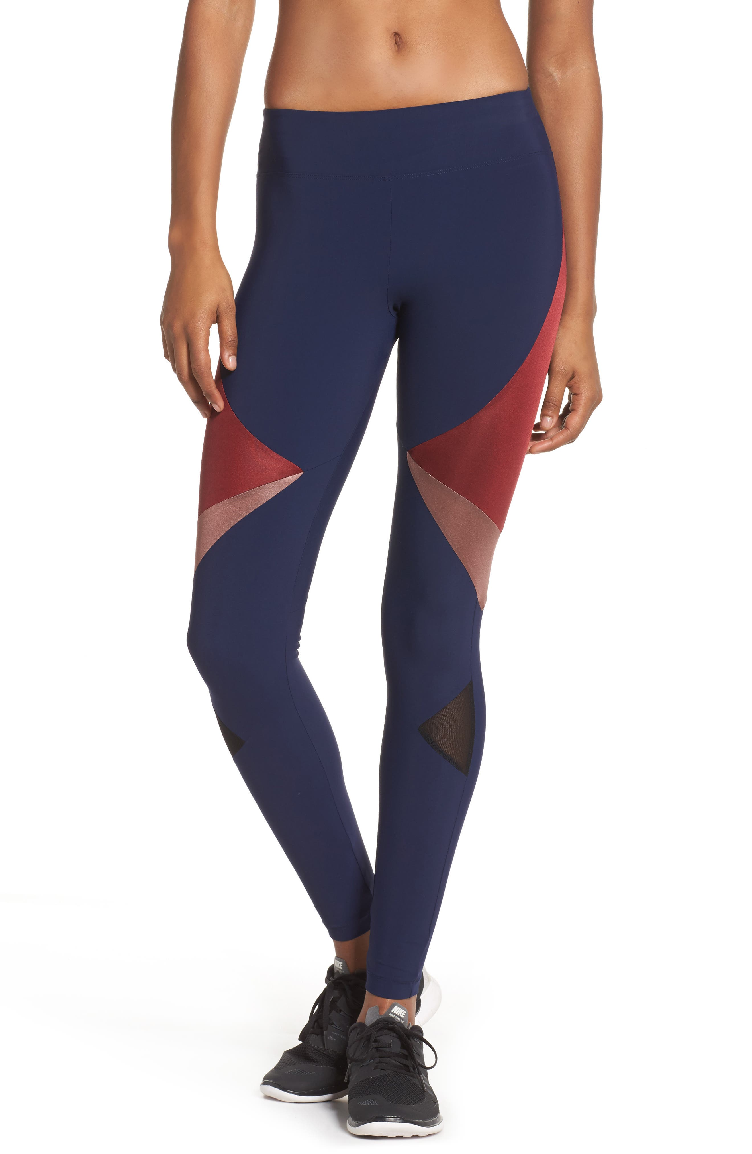 BoomBoom Athletica Compression Leggings,                             Main thumbnail 1, color,                             Navy/Oxblood/Rose Gold