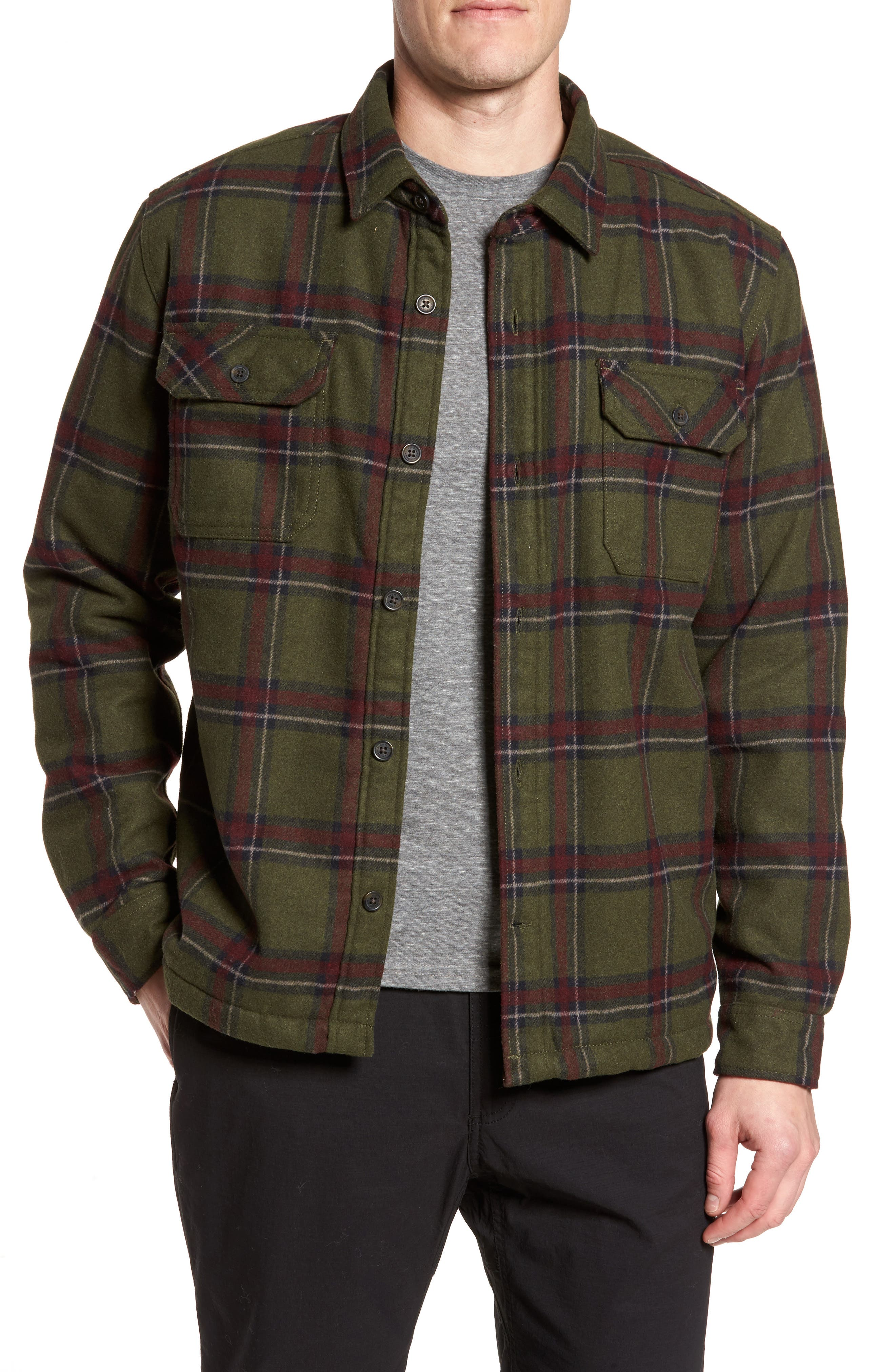 Tough Guy Plush Lined Flannel Shirt Jacket,                             Main thumbnail 1, color,                             Olive
