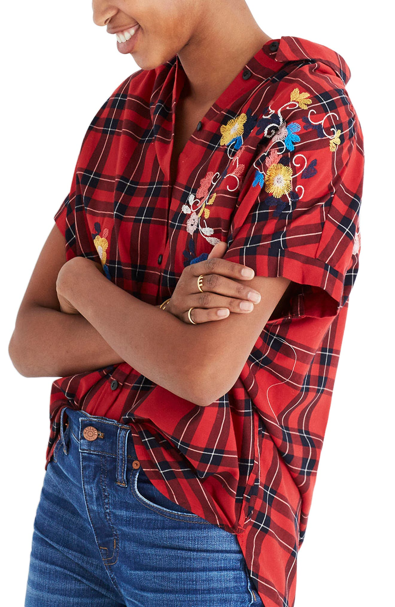 Central Embroidered Plaid Shirt,                             Alternate thumbnail 3, color,                             True Red