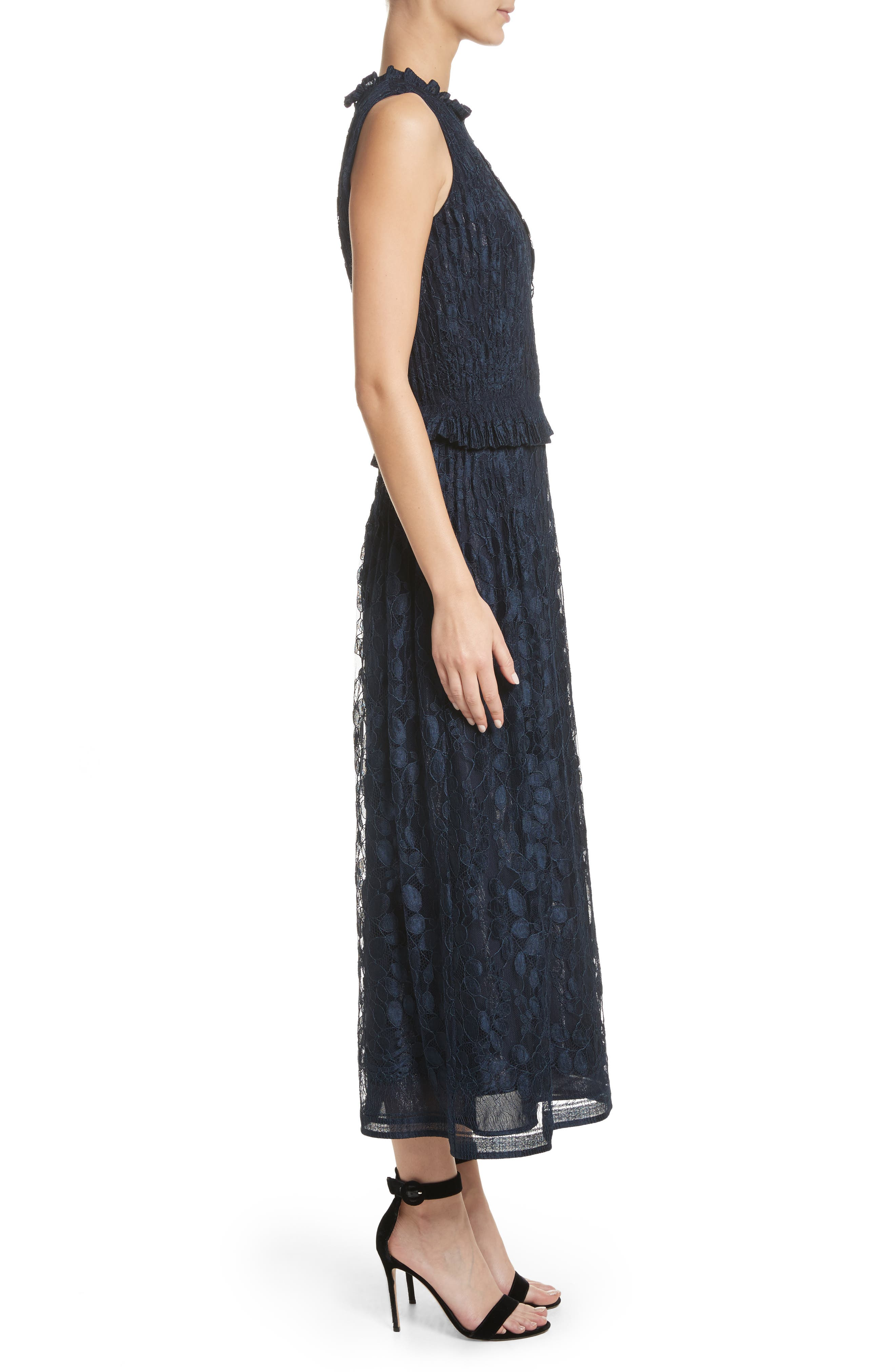 Abstract Leaf Lace midi Dress,                             Alternate thumbnail 3, color,                             Navy