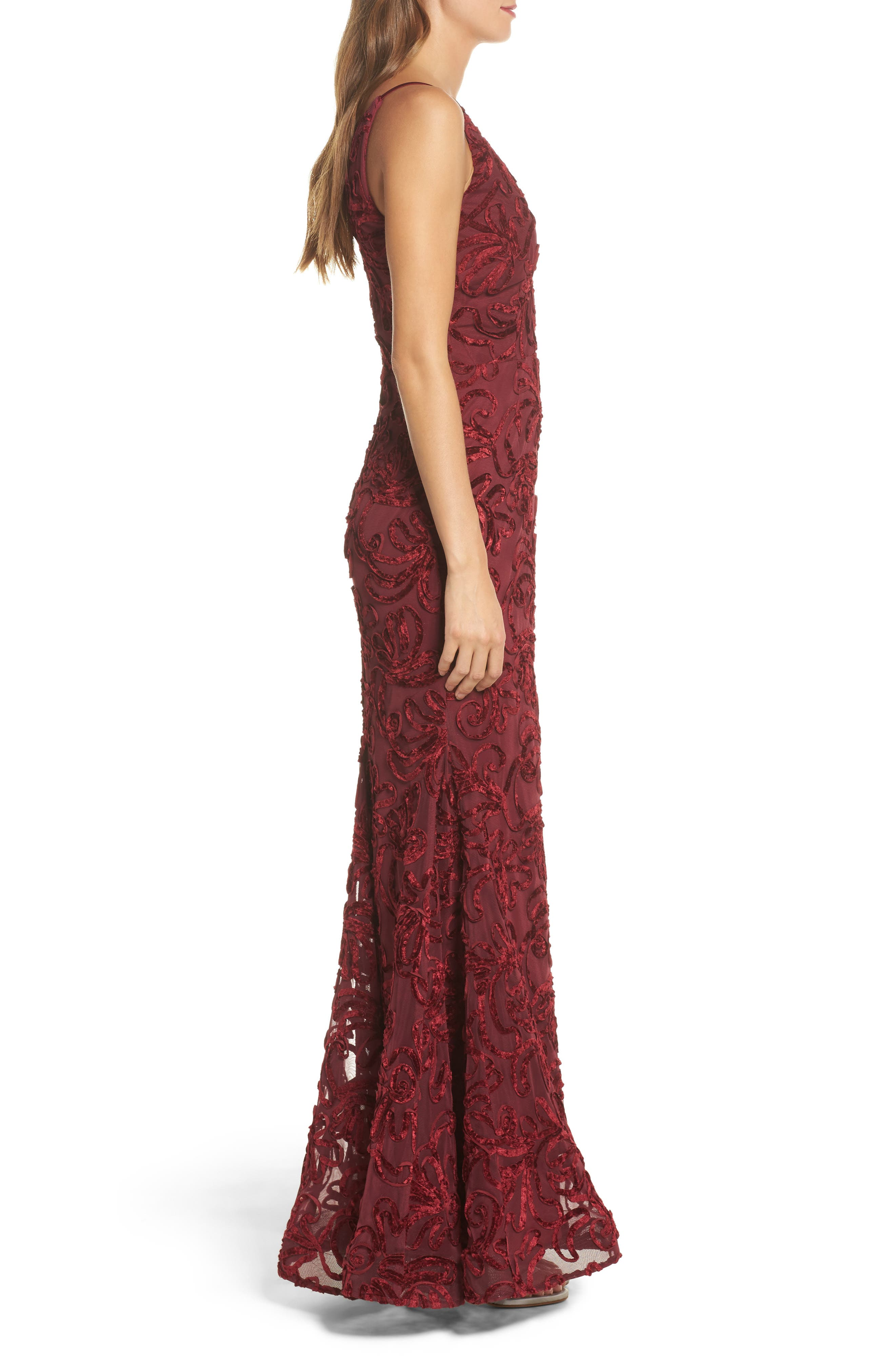 Flocked Velvet Gown,                             Alternate thumbnail 3, color,                             Wine