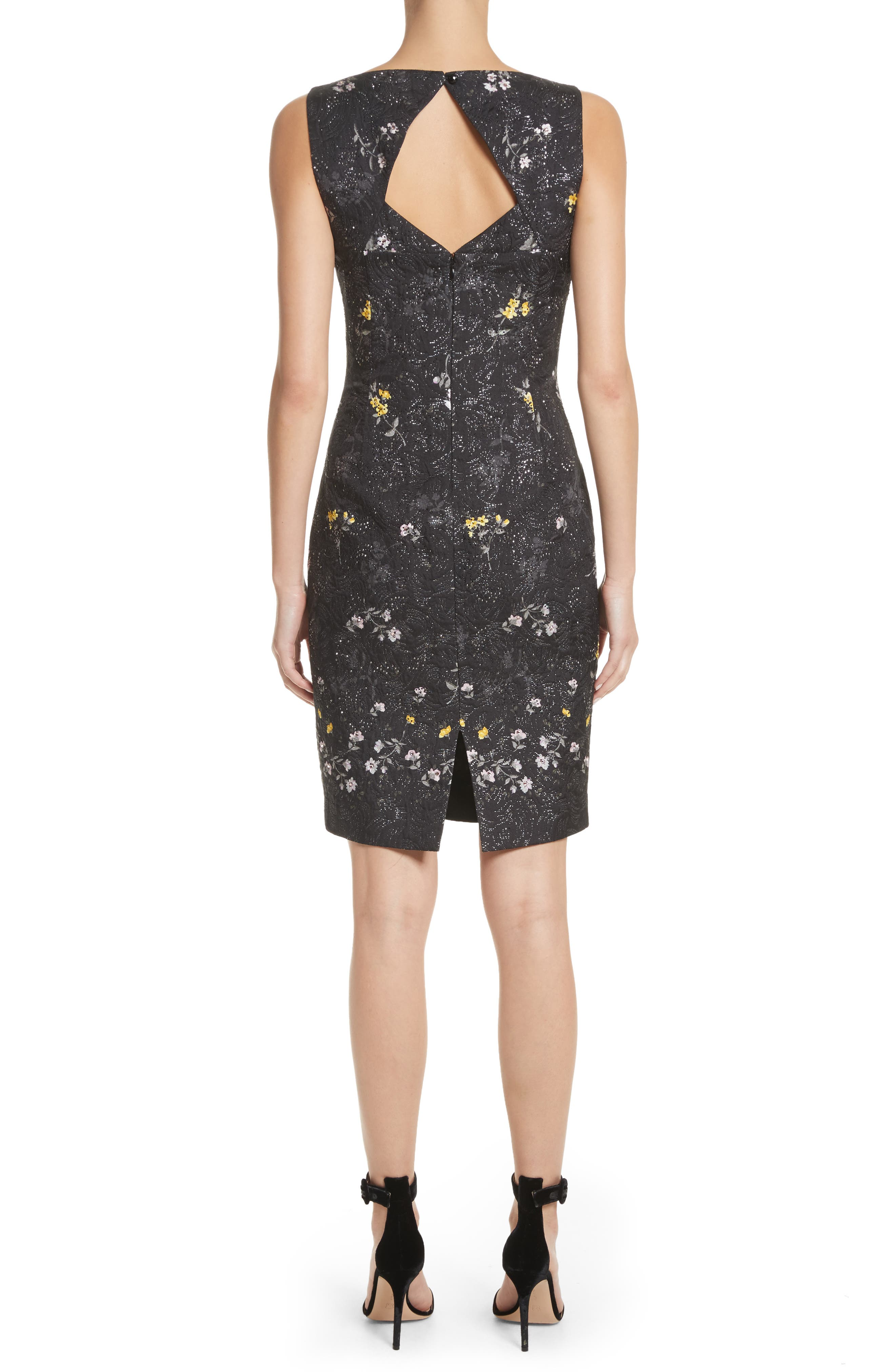 Falling Bouquet Metallic Matelassé Sheath Dress,                             Alternate thumbnail 2, color,                             Caviar Multi