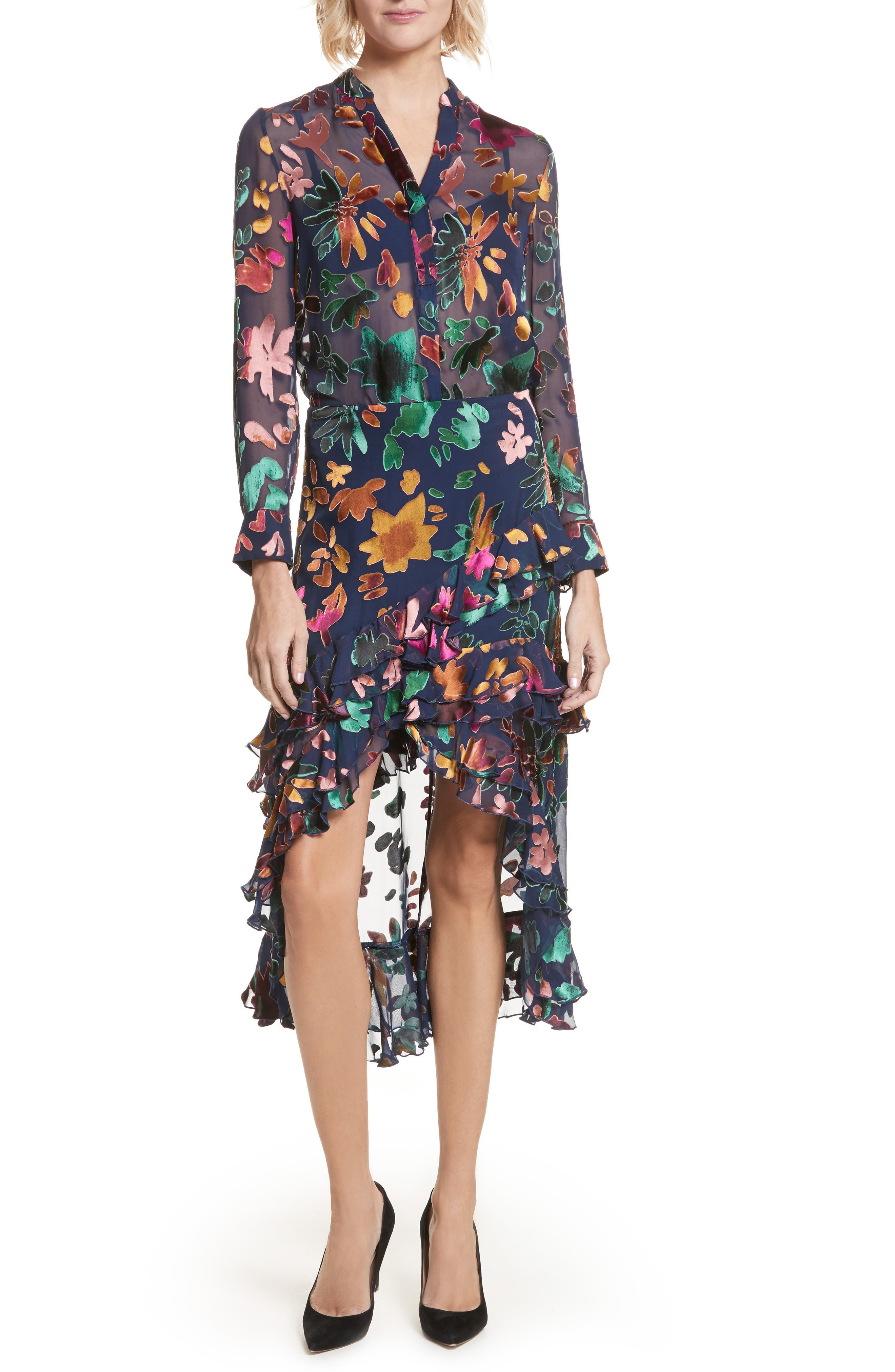 Alternate Image 7  - Alice + Olivia Amos Floral Burnout Velvet Tunic