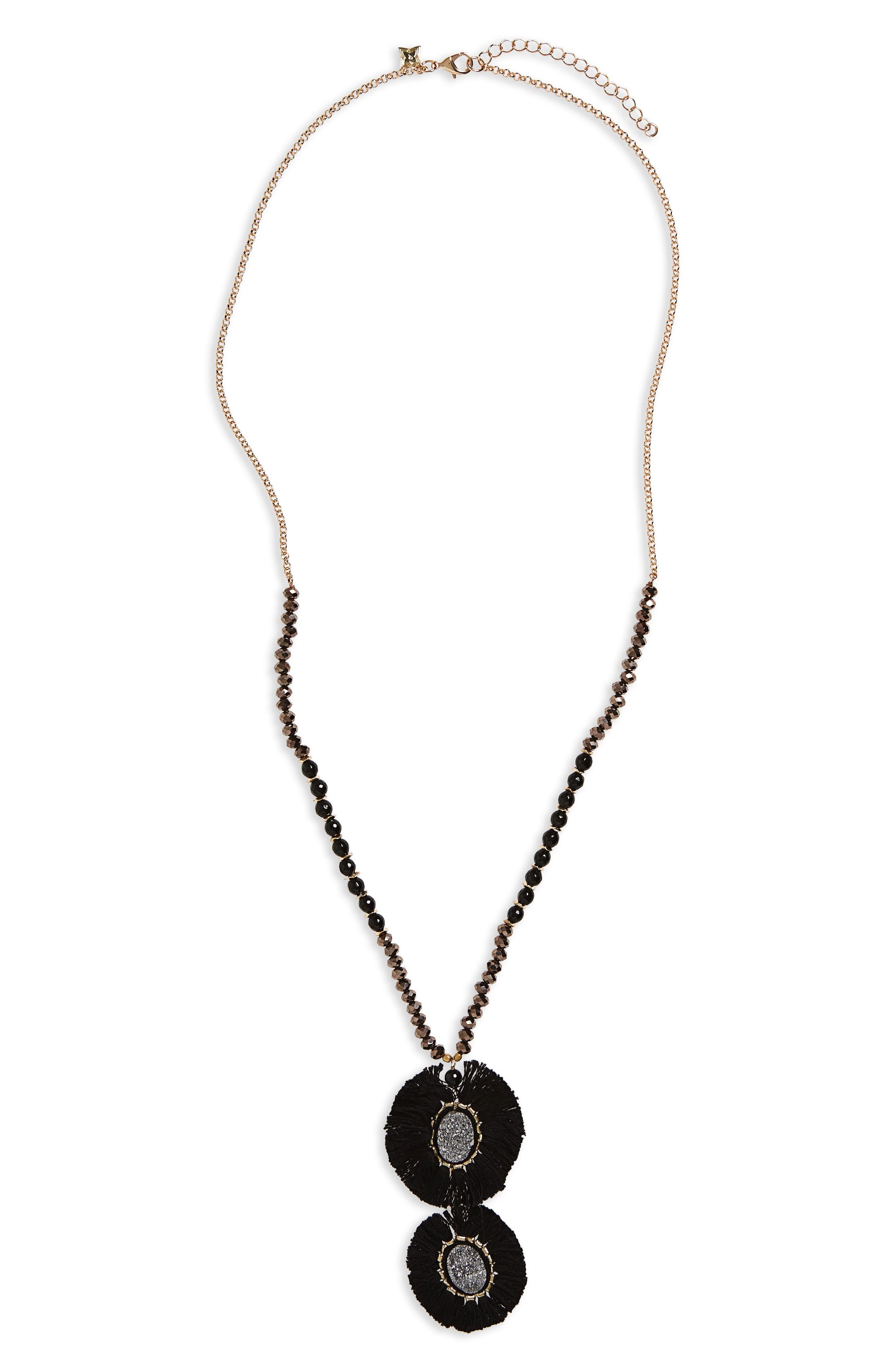 Circle Fringe Pendant Necklace,                         Main,                         color, Black