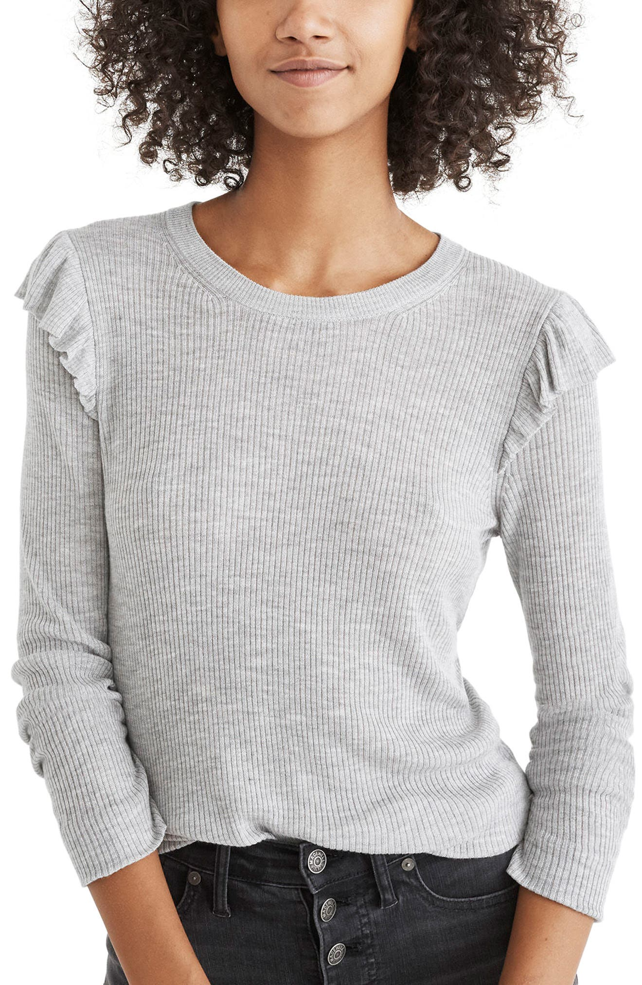 Ruffle Sleeve Pullover Sweater,                             Main thumbnail 1, color,                             Heather Nickle