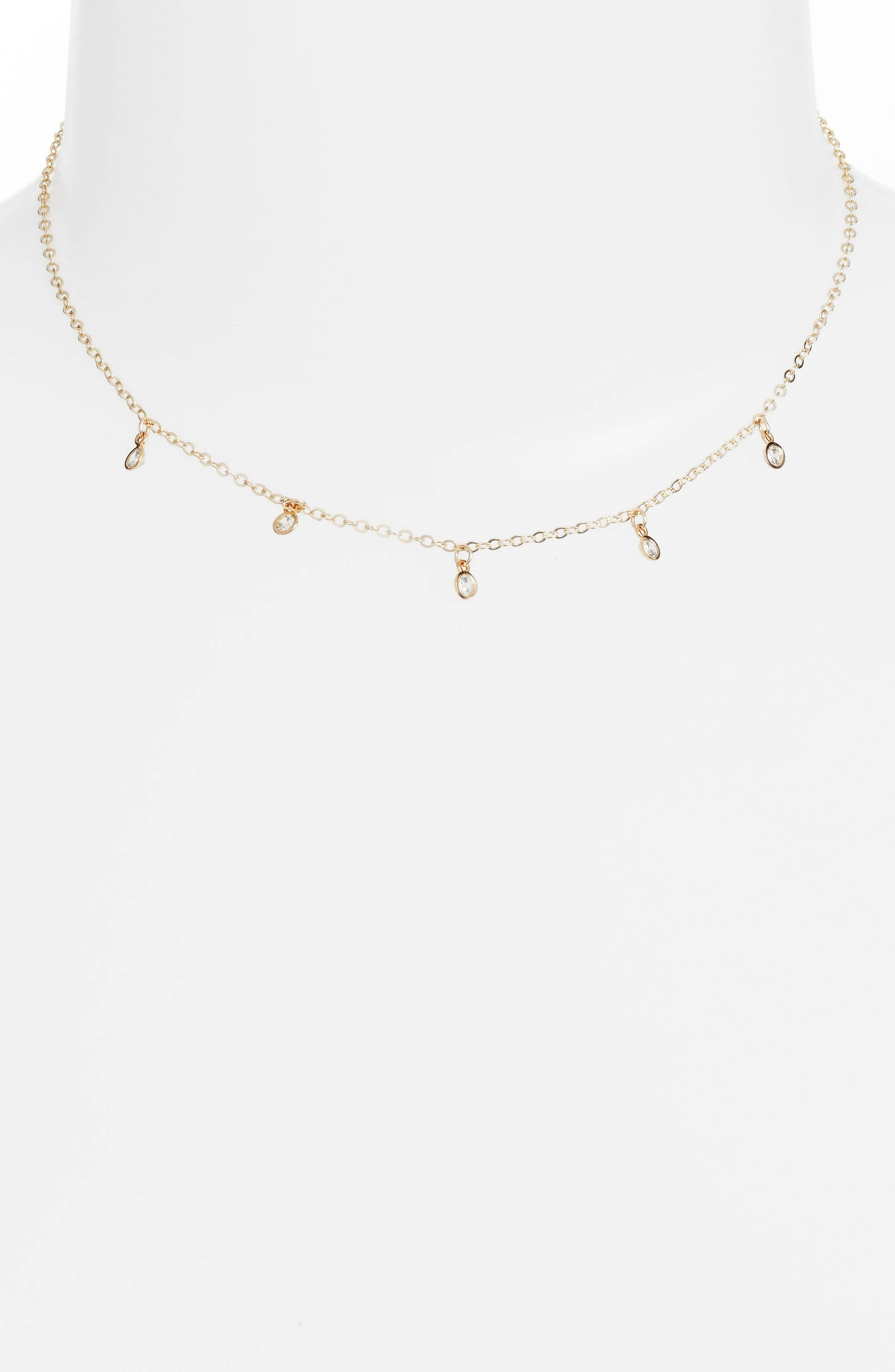 Starry String Lights Choker Necklace,                             Alternate thumbnail 2, color,                             Gold