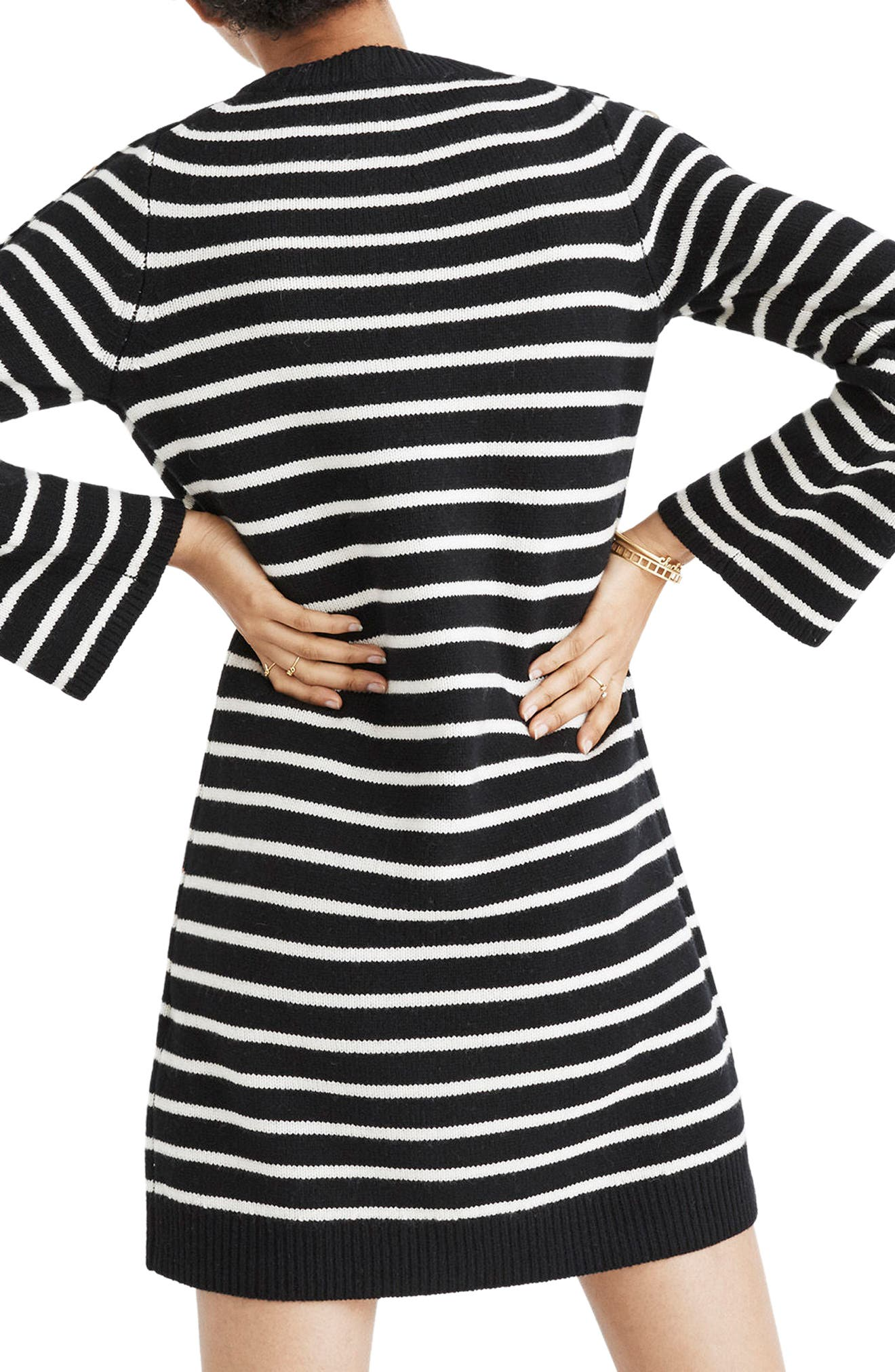 Stripe Sweater Dress,                             Alternate thumbnail 2, color,                             True Black