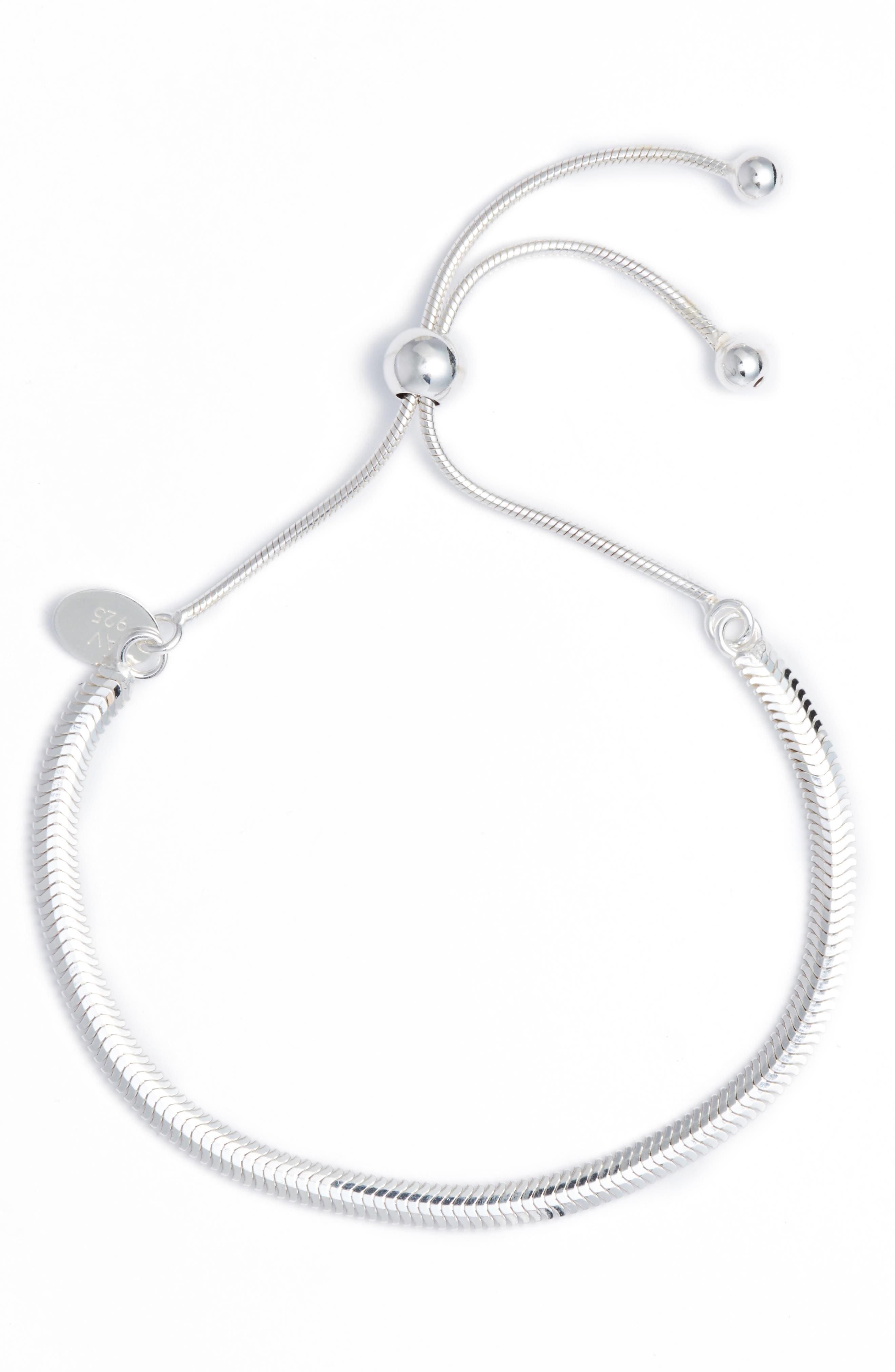 Herringbone Adjustable Bracelet,                         Main,                         color, Silver