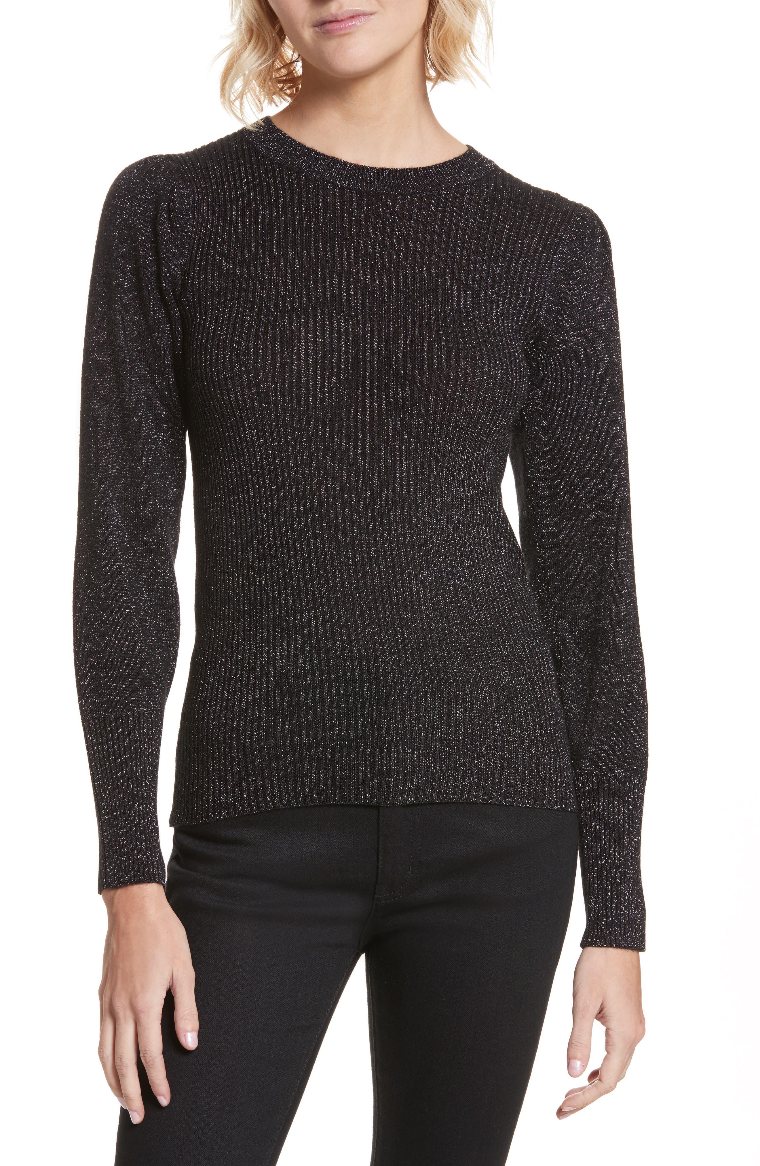 Metallic Ribbed Pullover,                         Main,                         color, Black Combo