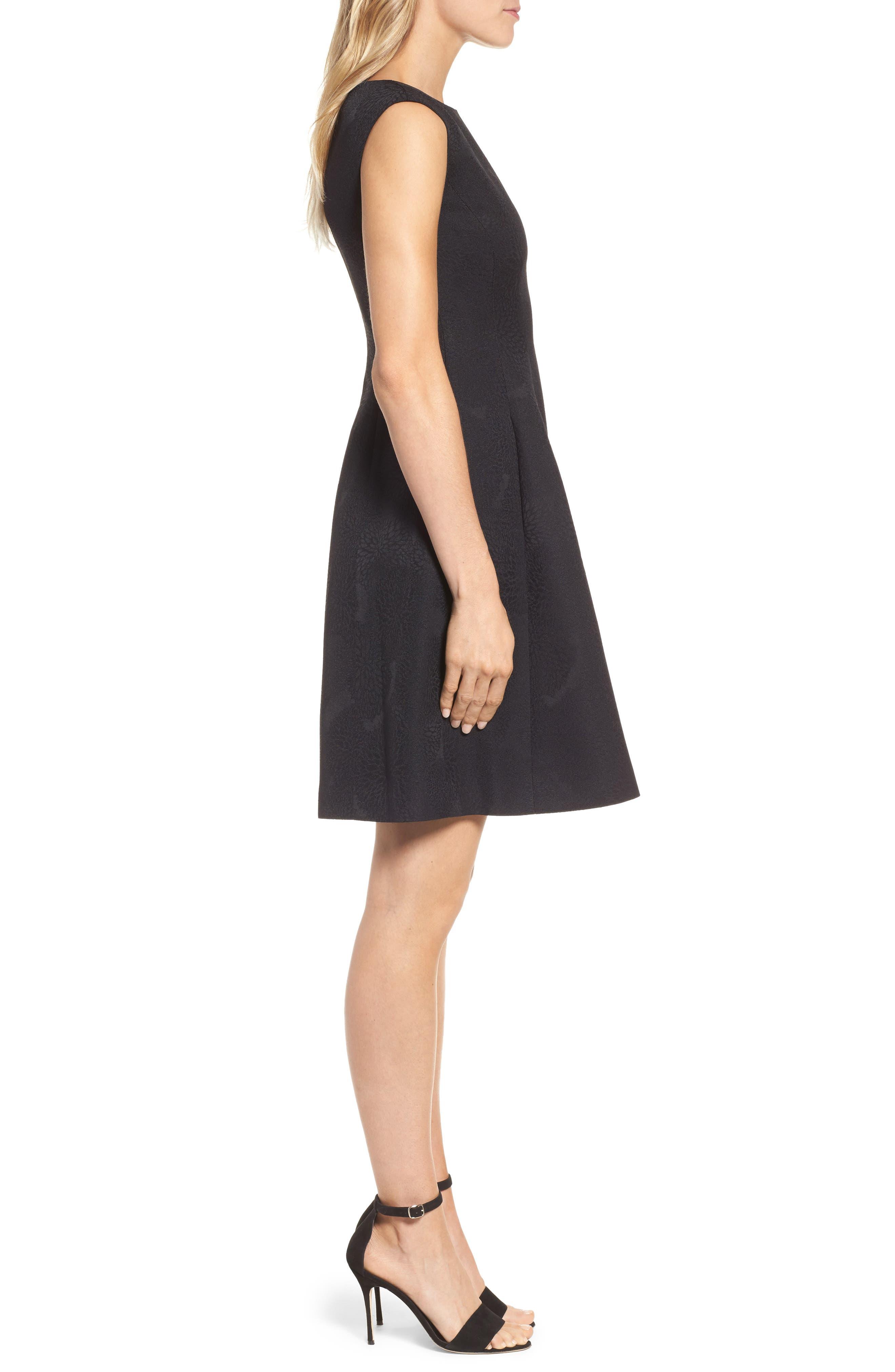 Jacqaurd Fit & Flare Dress,                             Alternate thumbnail 3, color,                             Black