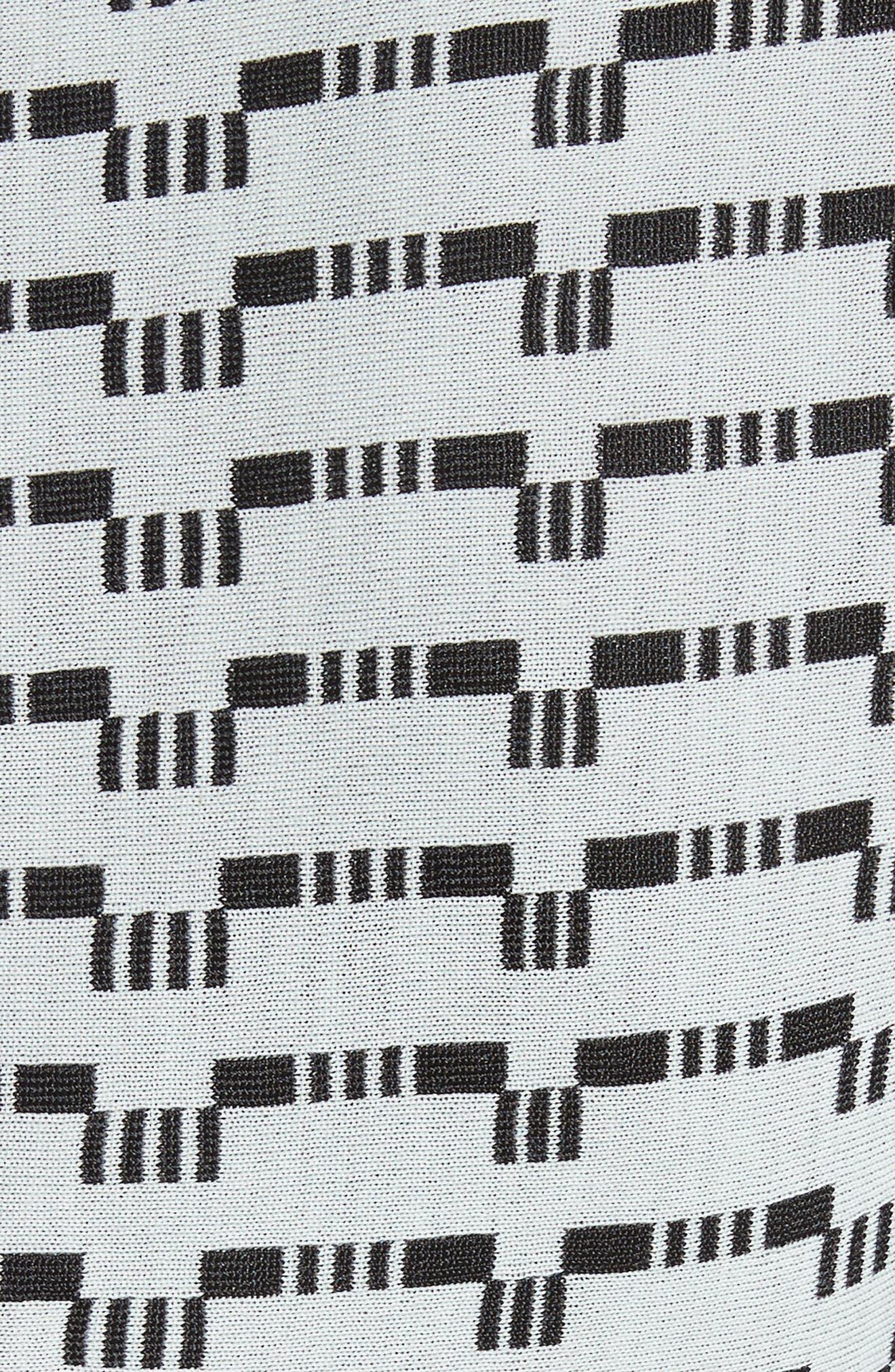 Grid Knit Fit & Flare Dress,                             Alternate thumbnail 6, color,                             Mint/ Caviar
