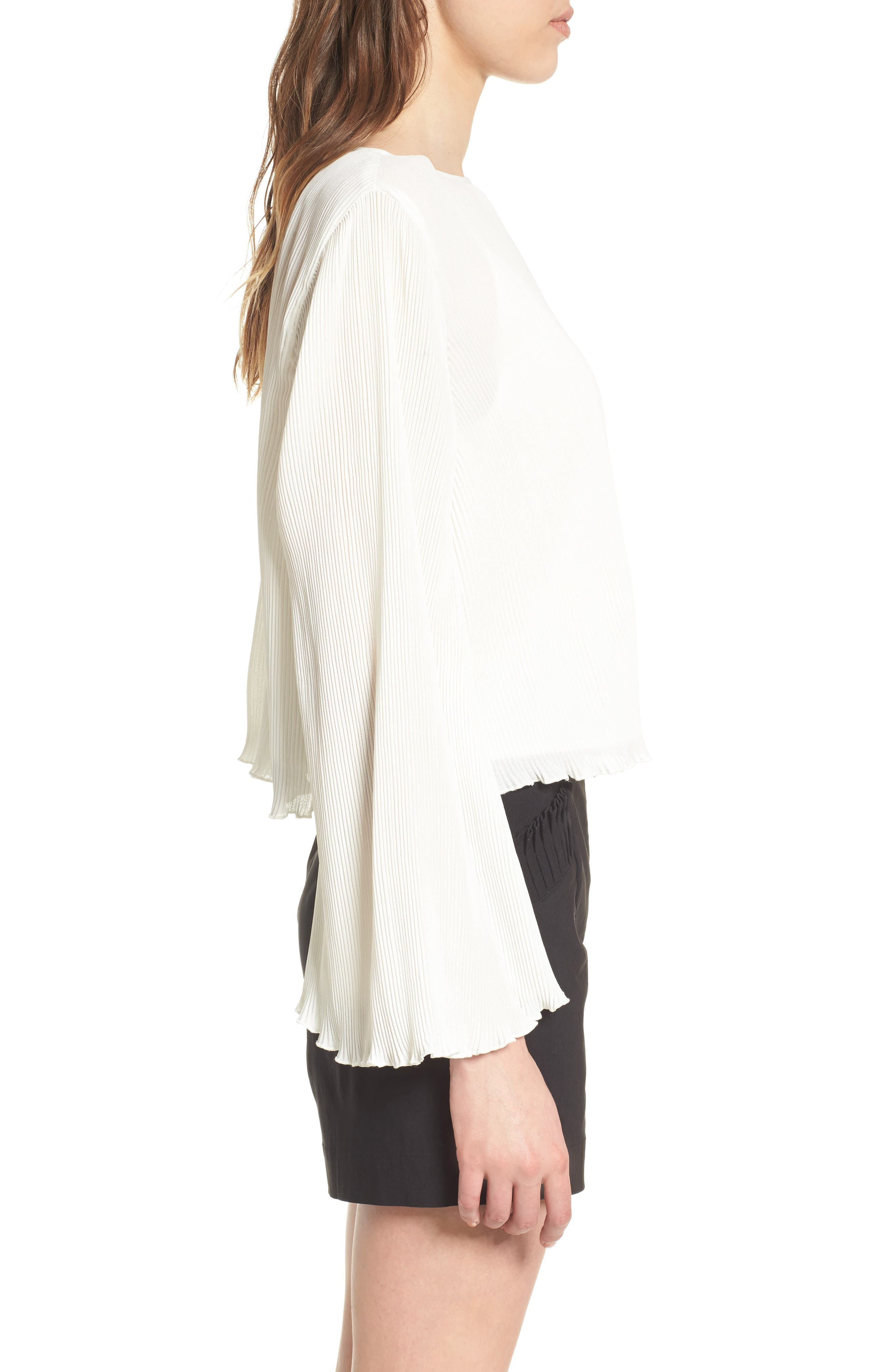 Pleated Bell Sleeve Top,                             Alternate thumbnail 3, color,                             Ivory