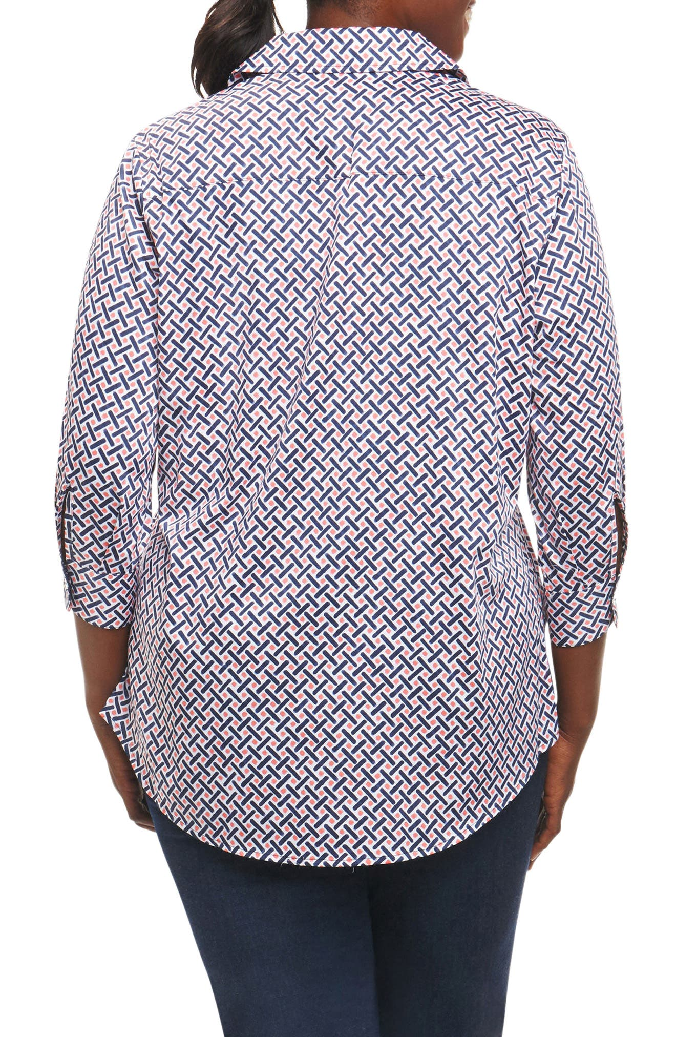 Faith Geo Print Shirt,                             Alternate thumbnail 2, color,                             Navy Multi