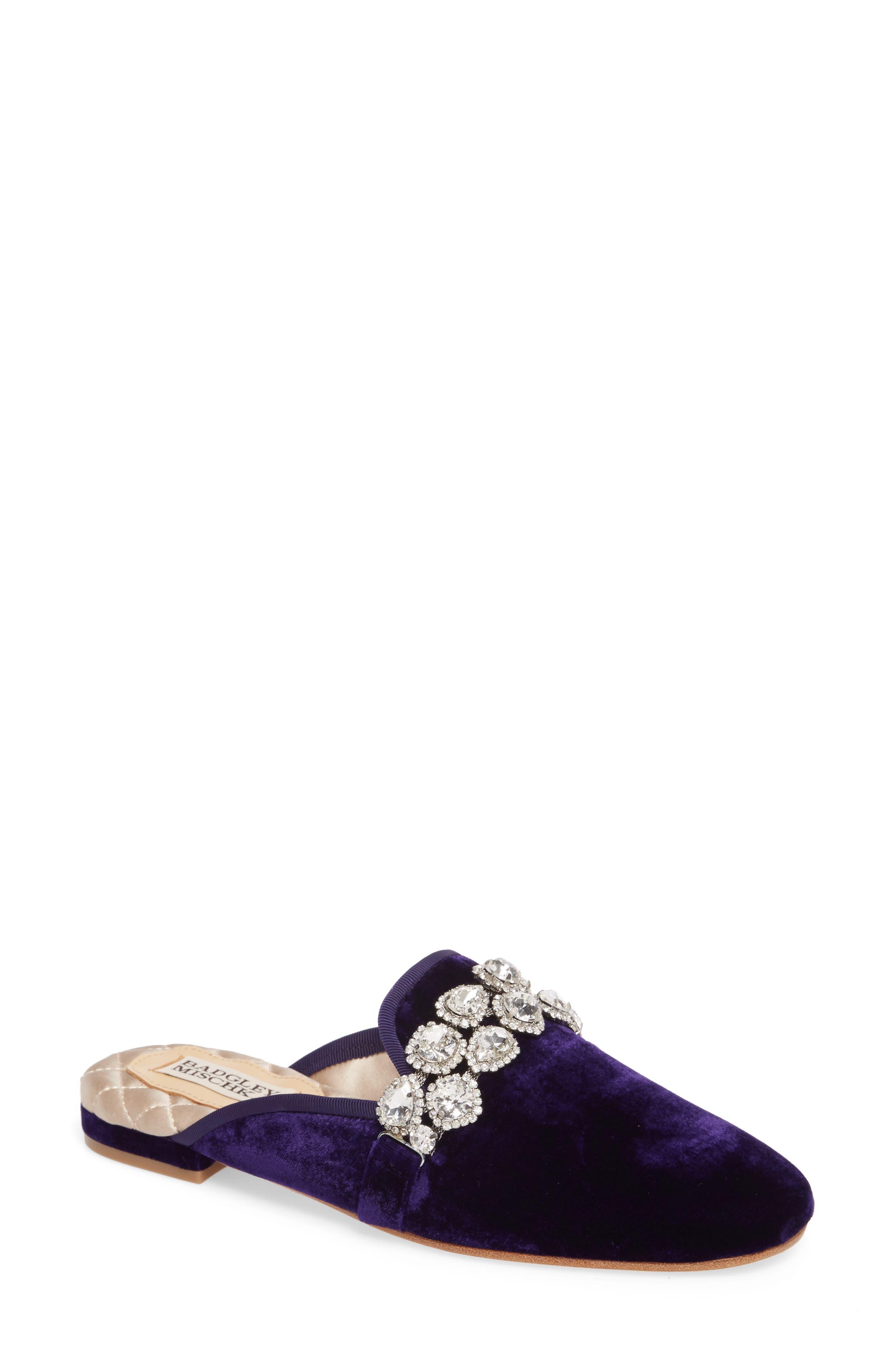 Wade Crystal Mule,                         Main,                         color, Dark Purple Velvet