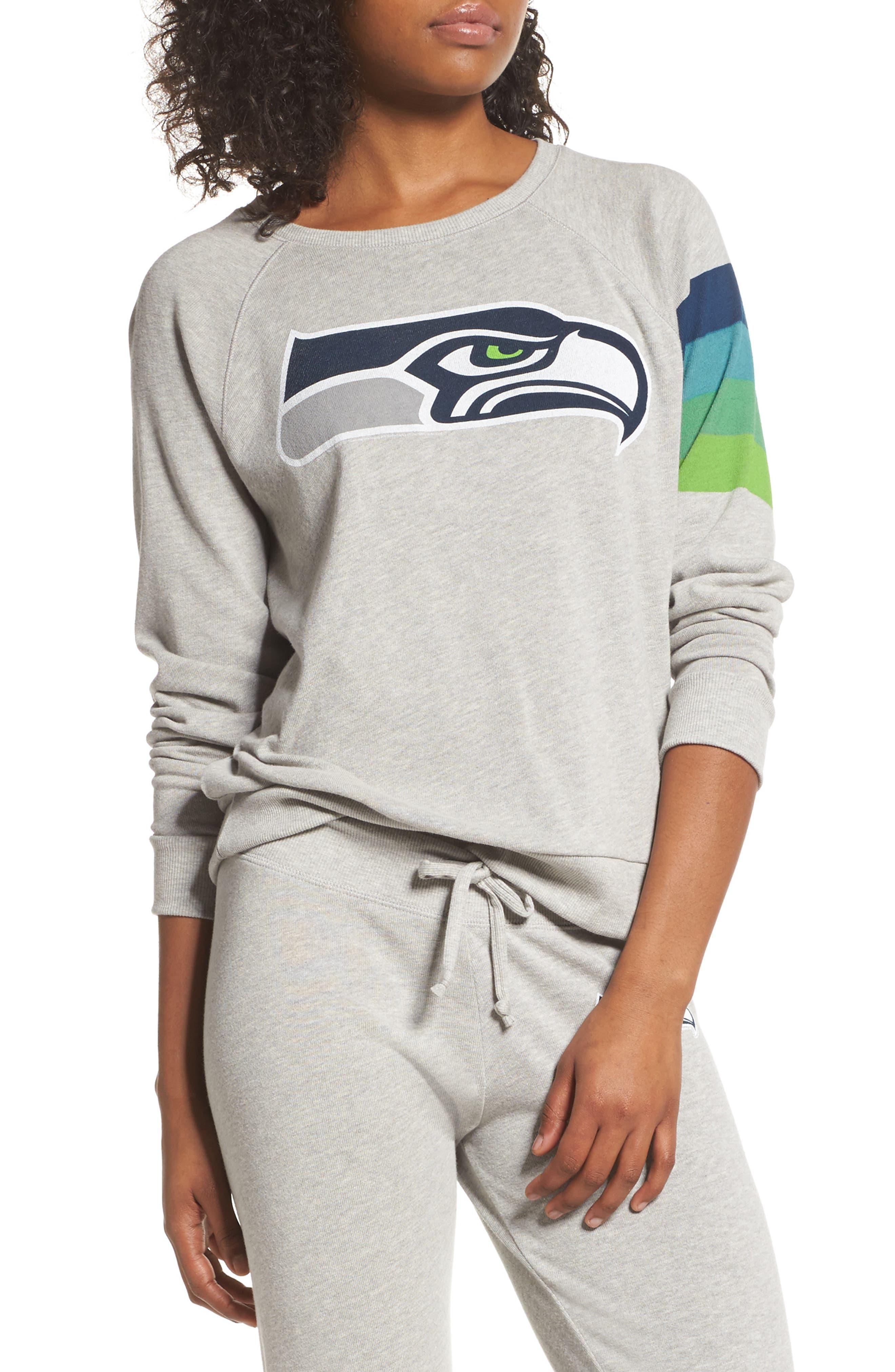 NFL Seattle Seahawks Hacci Sweatshirt,                             Main thumbnail 1, color,                             Dove Heather Grey