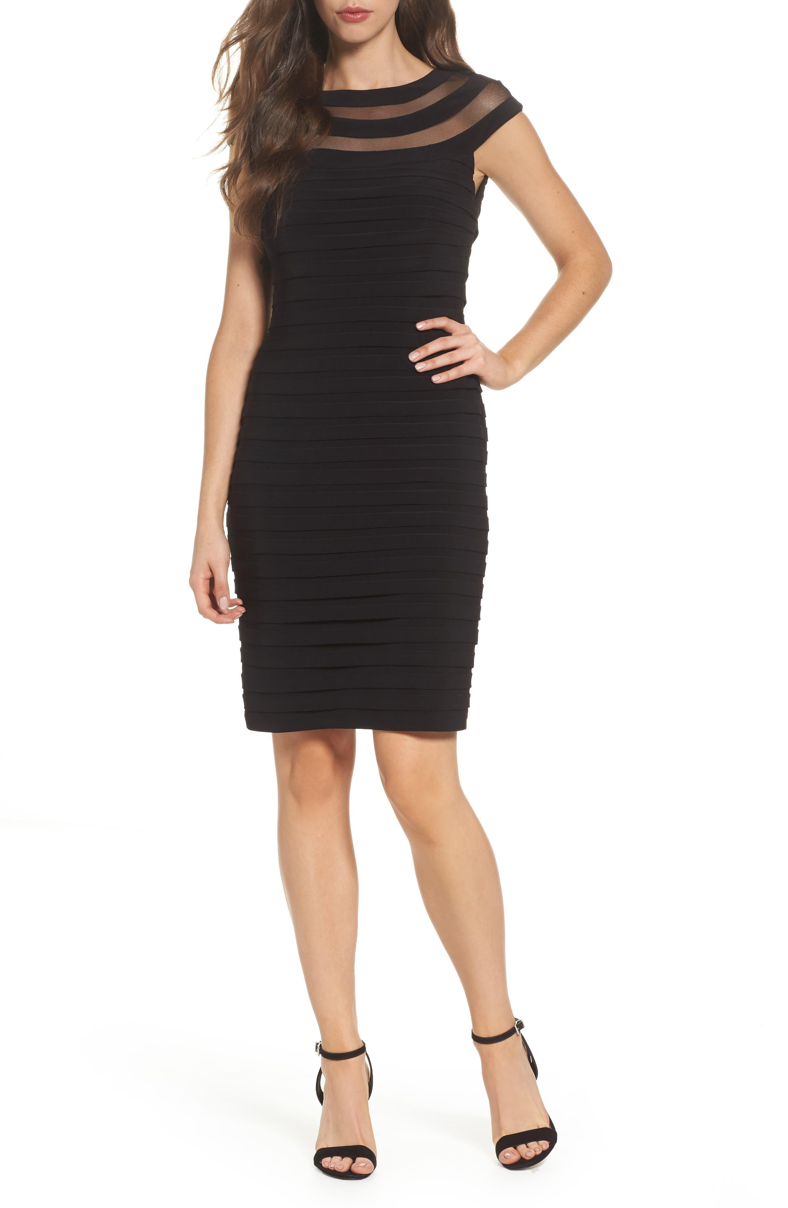 Banded Jersey Sheath Dress,                             Main thumbnail 1, color,                             Black