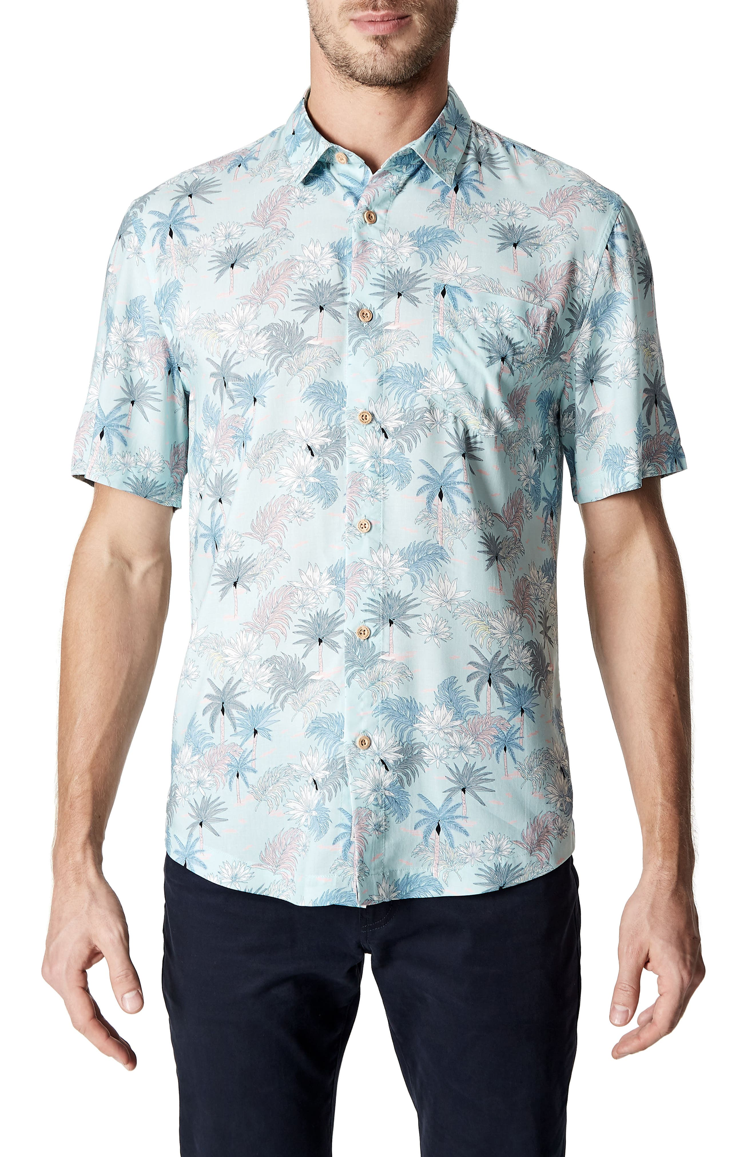 Rebel Music Trim Fit Short Sleeve Sport Shirt,                         Main,                         color, Mint