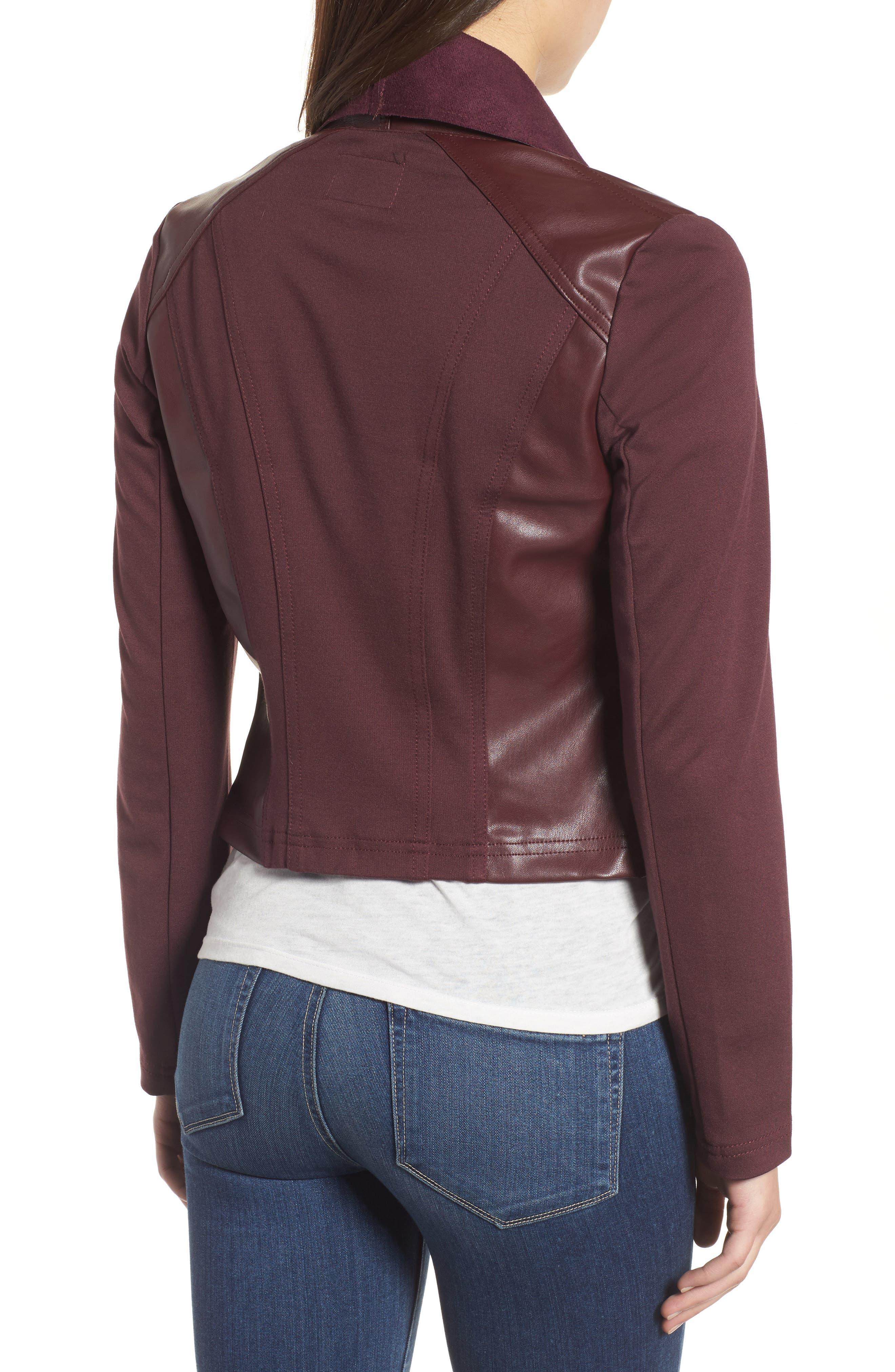 Drape Ponte Jacket,                             Alternate thumbnail 2, color,                             Bordeaux