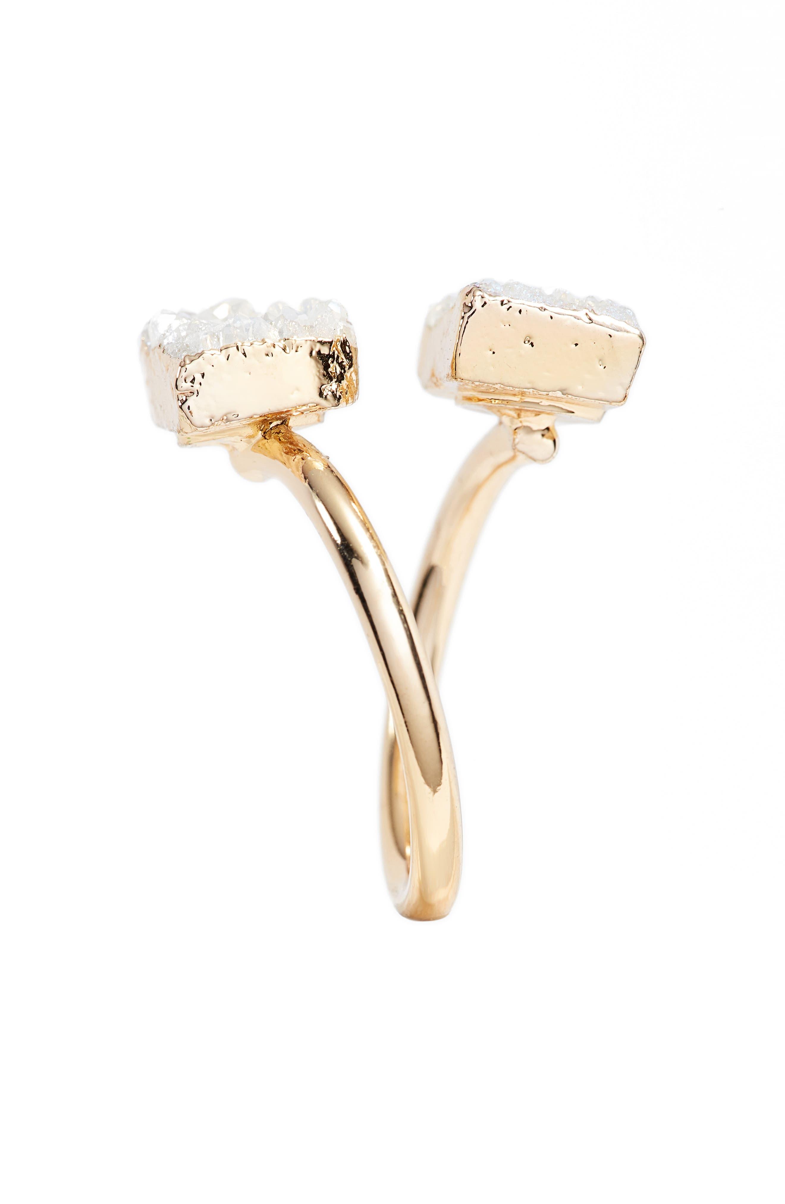 Jessa Drusy Quartz Adjustable Ring,                             Alternate thumbnail 2, color,                             Natural