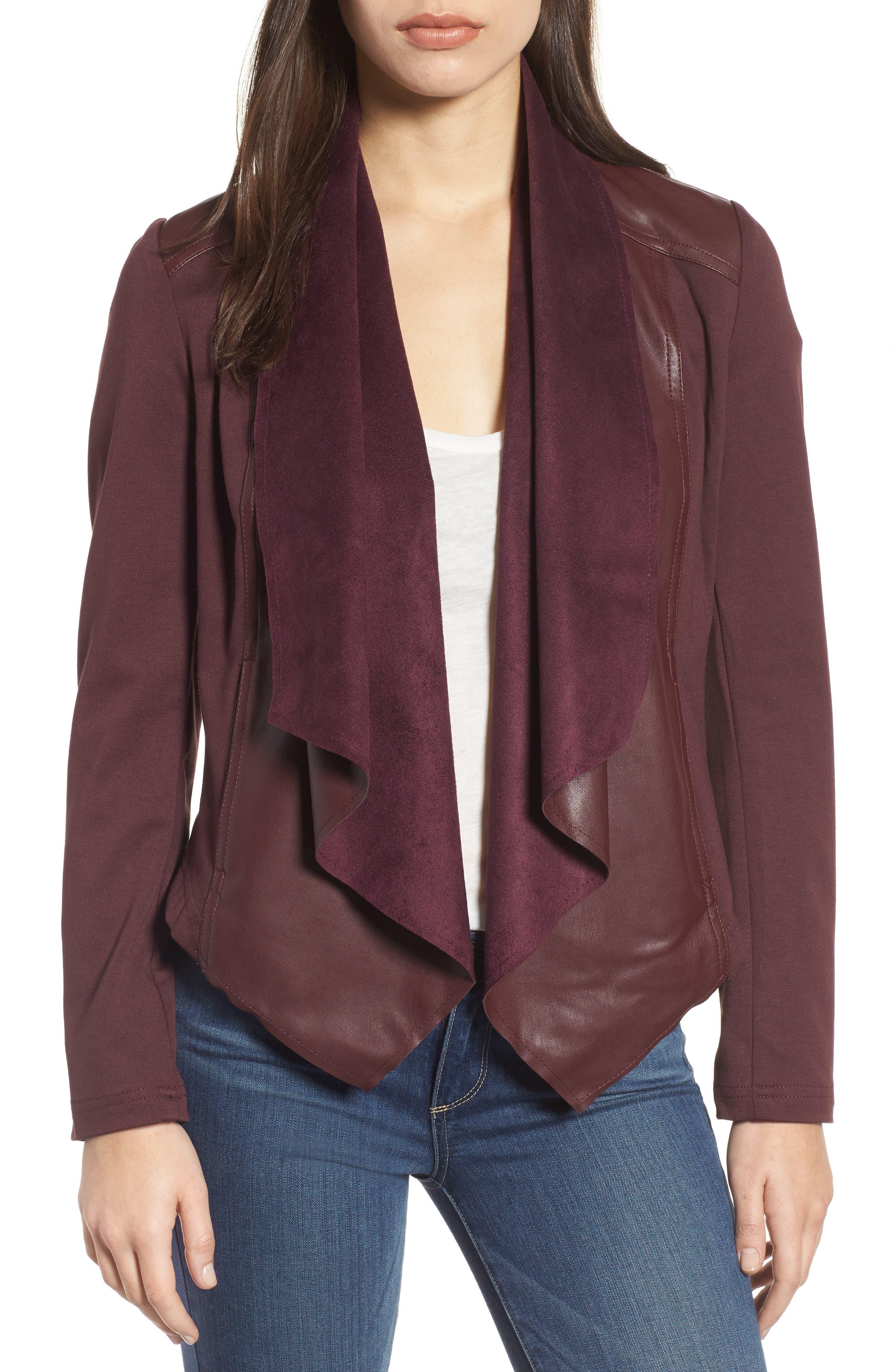 Drape Ponte Jacket,                         Main,                         color, Bordeaux