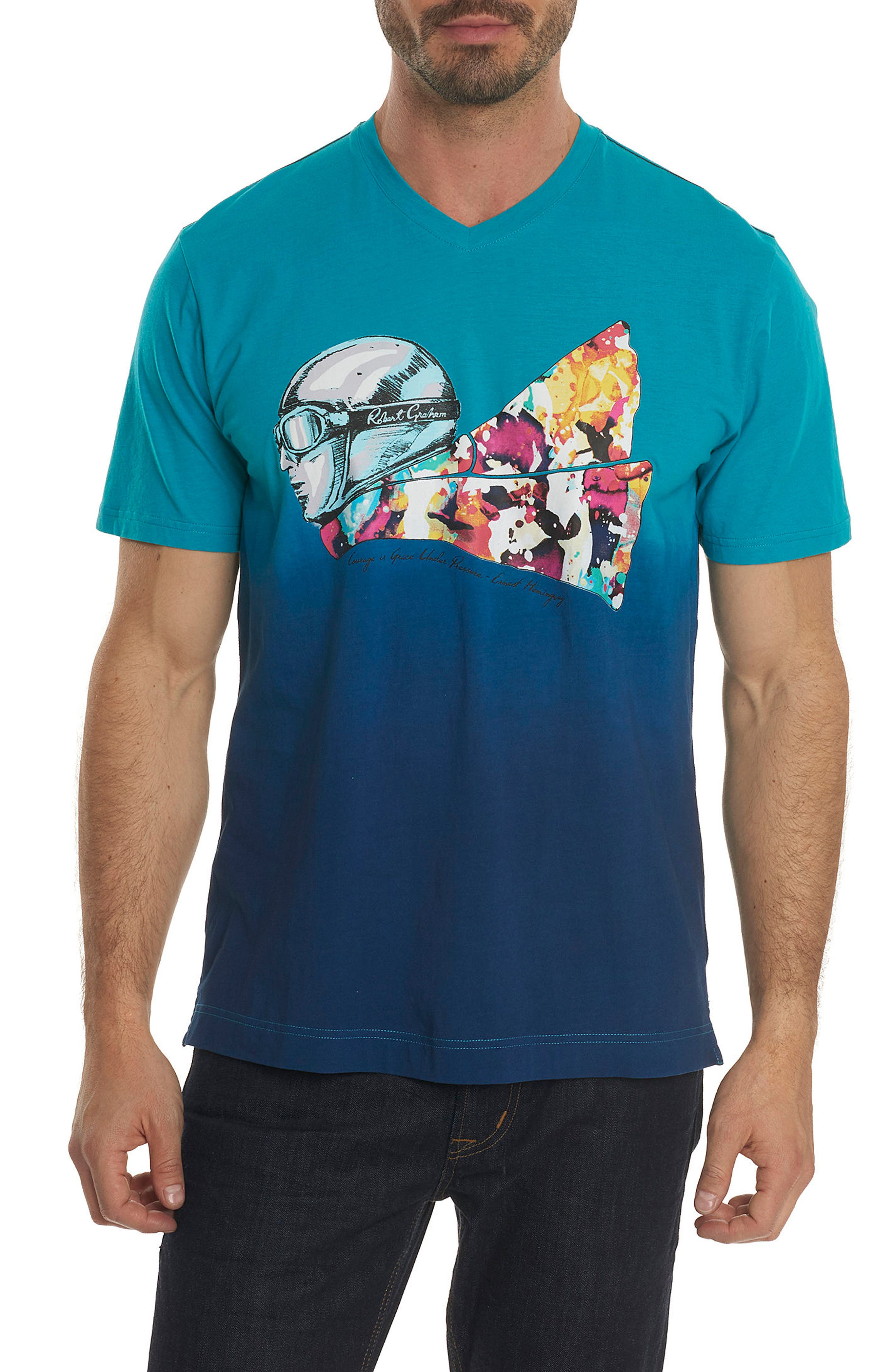 Into the Wind Knit Graphic T-Shirt,                         Main,                         color, Teal
