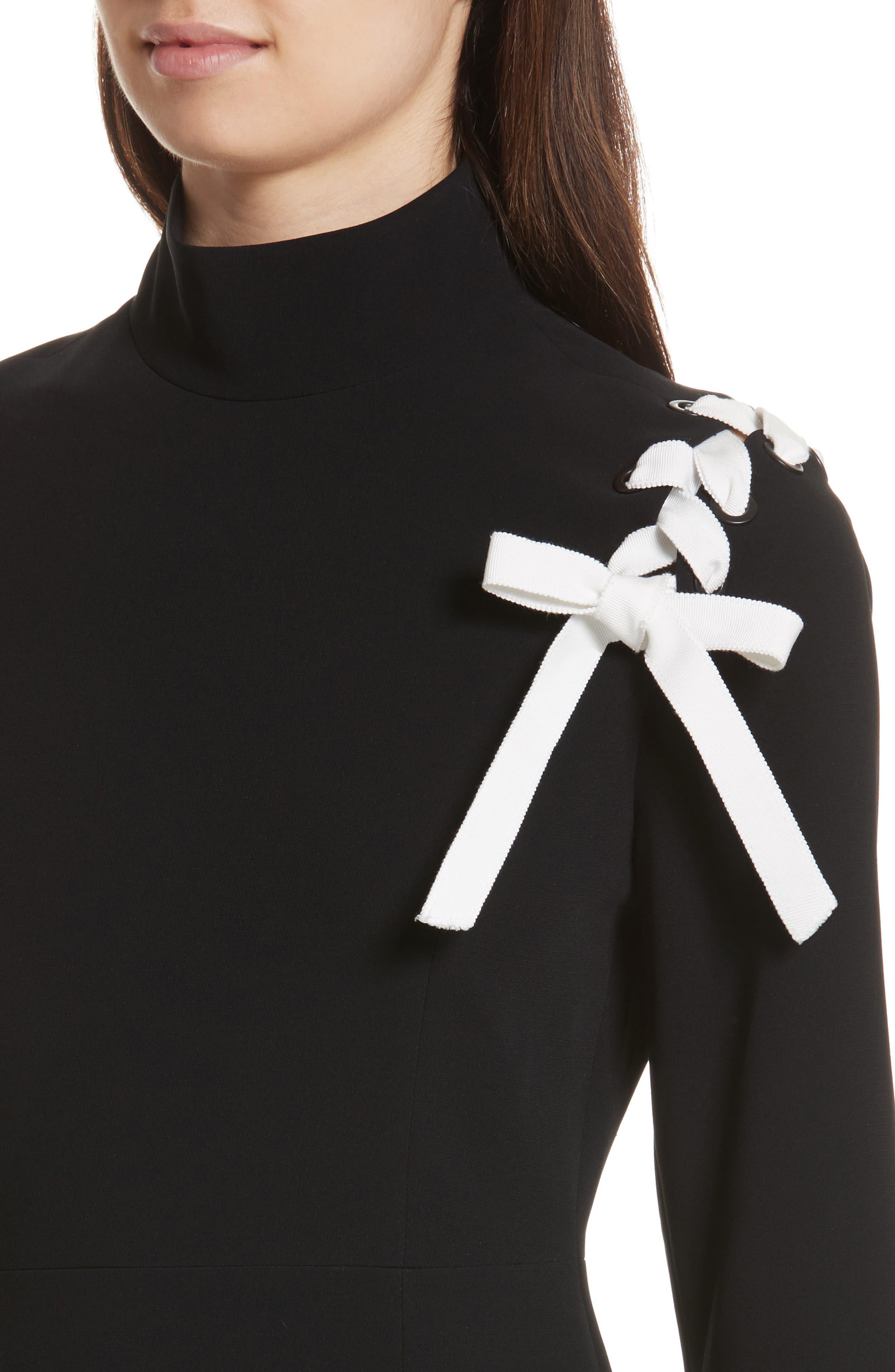 Izella Crepe Minidress,                             Alternate thumbnail 4, color,                             Black/ Ivory