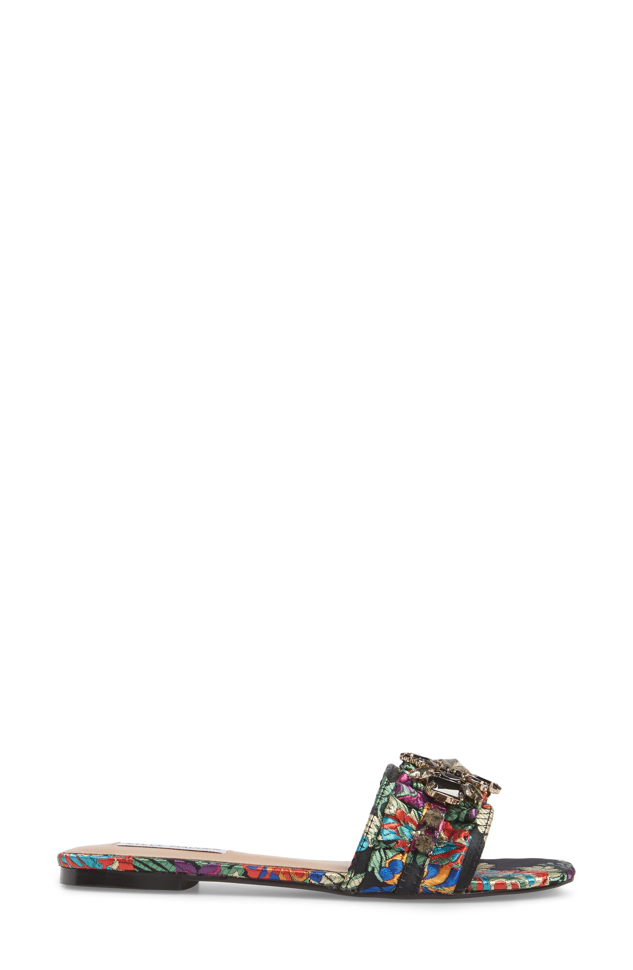 Pomona Crystal Embellished Slide Sandal,                             Alternate thumbnail 3, color,                             Black Multi