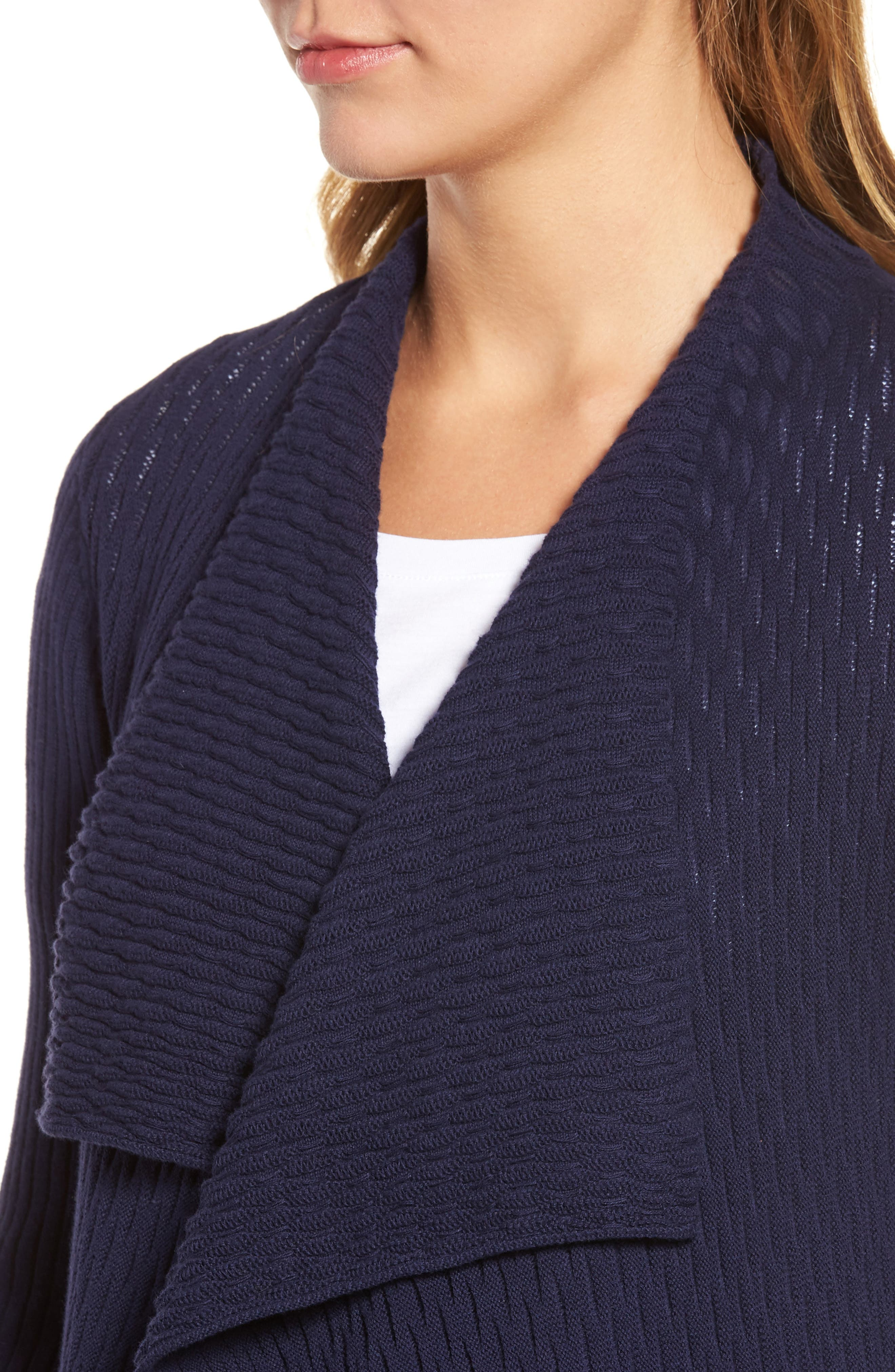 Novelty Stitch Drape Front Cardigan,                             Alternate thumbnail 4, color,                             Evening Na