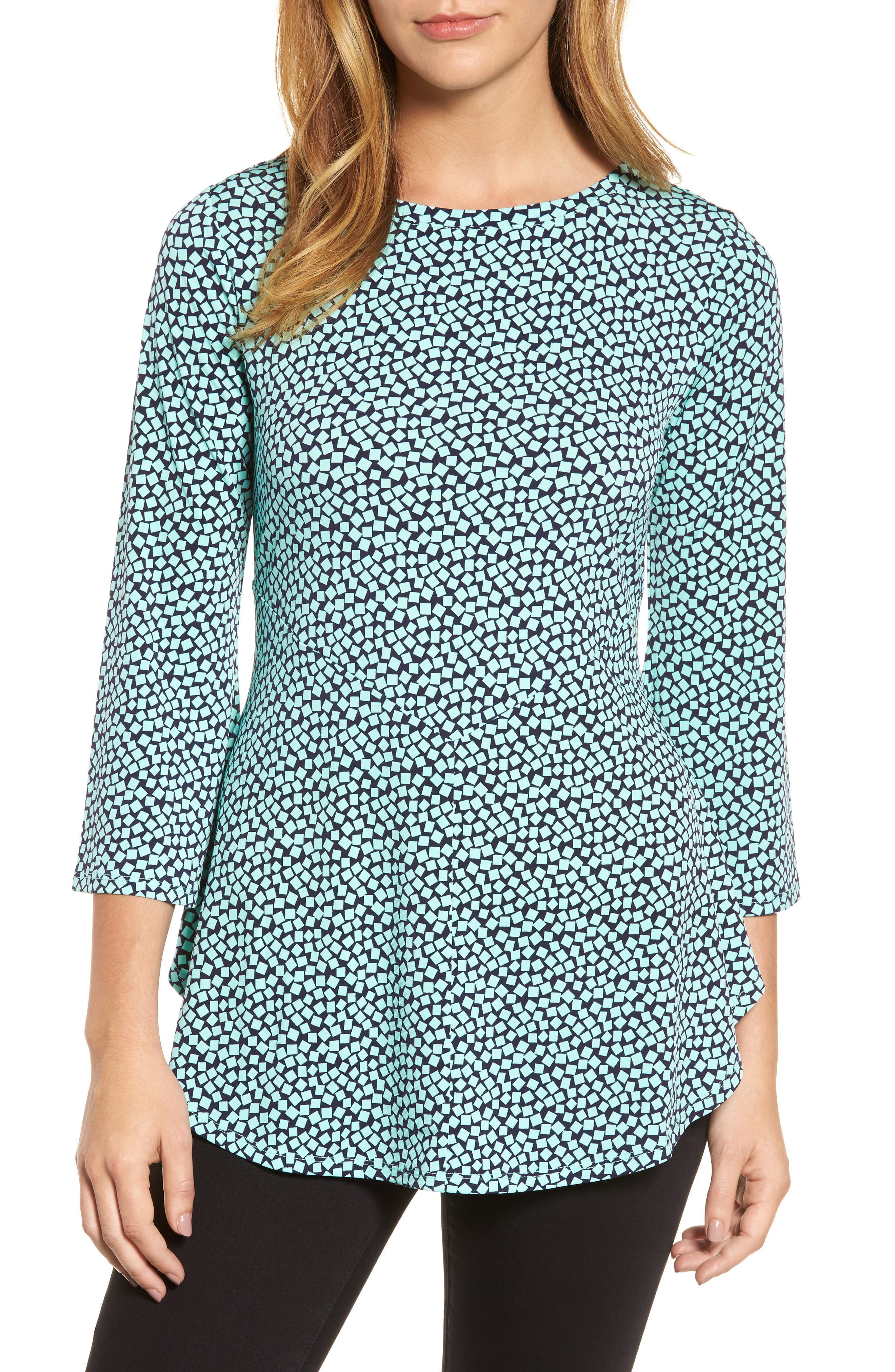 Bell Sleeve Cube Print Top,                             Main thumbnail 1, color,                             Sea Glass