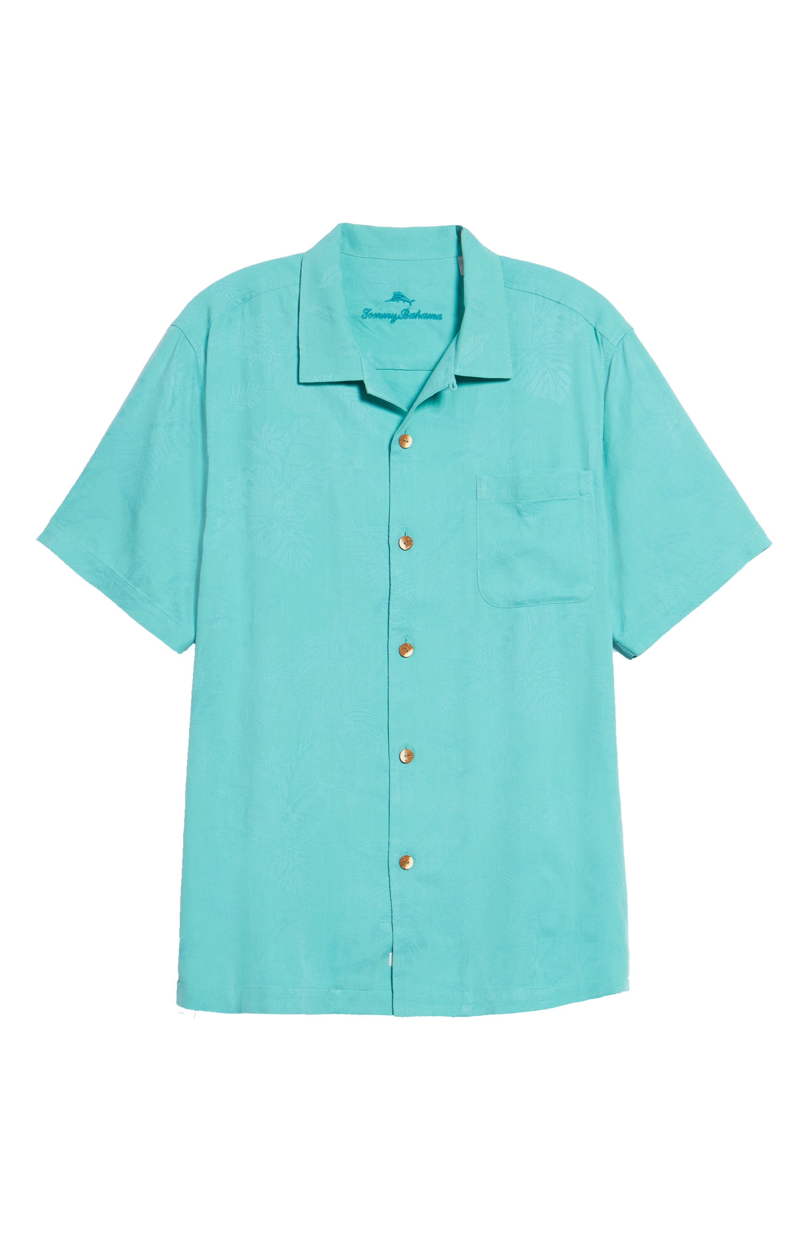 St Lucia Fronds Silk Camp Shirt,                             Alternate thumbnail 6, color,                             Castaway Green
