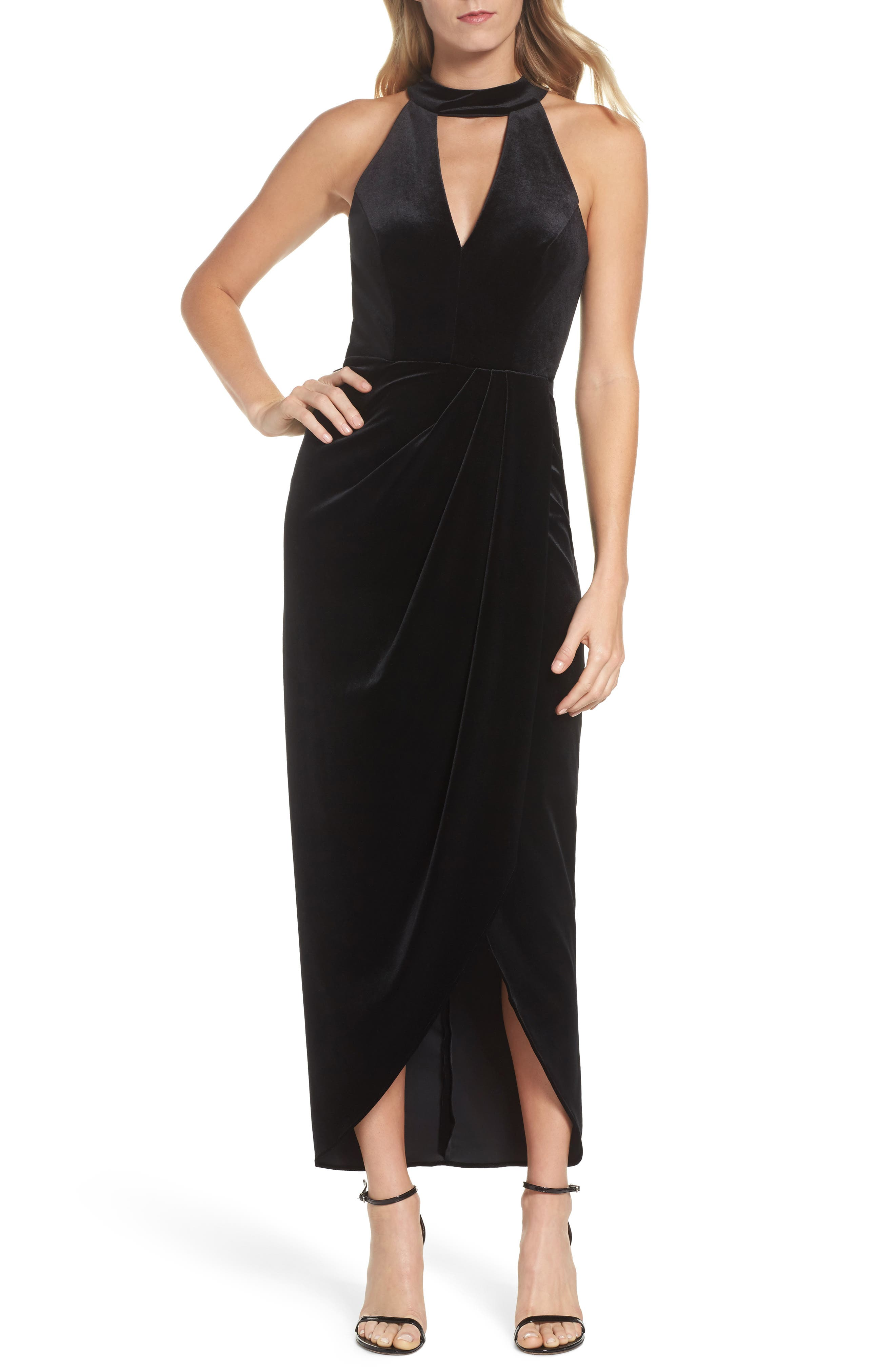 Velvet Choker Neck Wrap Dress,                         Main,                         color, Black