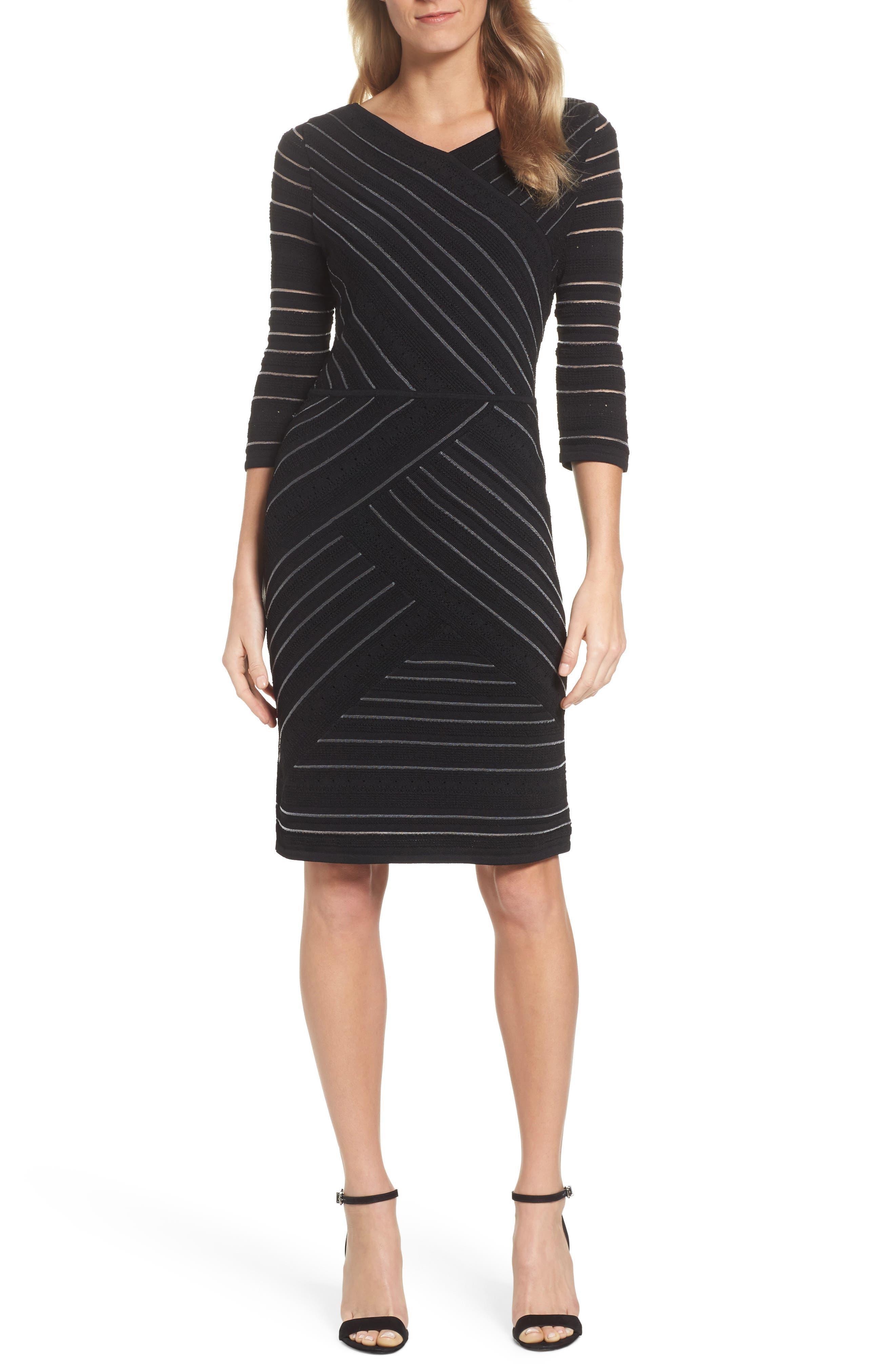 NIC+ ZOE Wrapped Up Sheath Dress,                         Main,                         color, Black Onyx