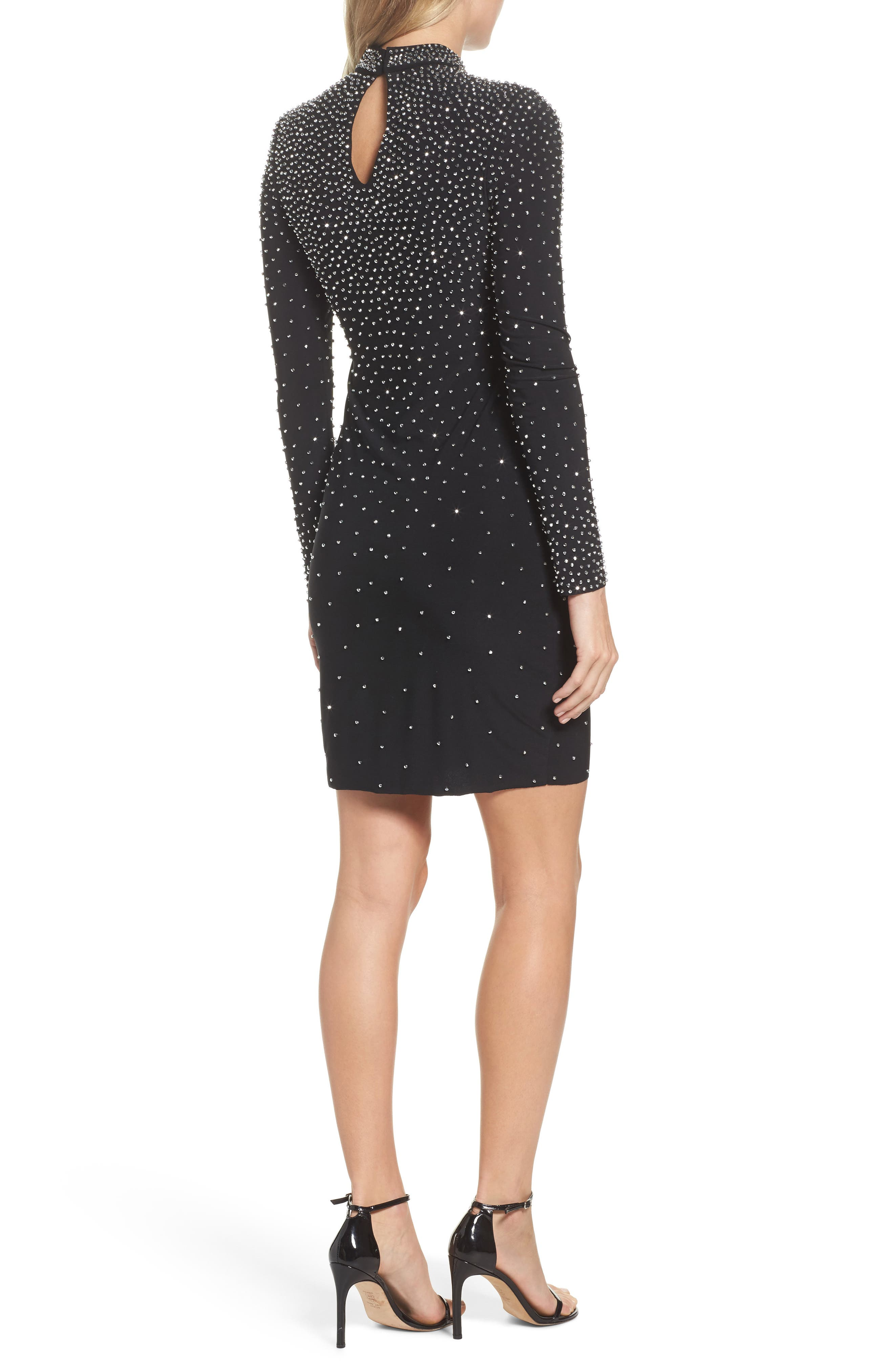 Embellished Choker Neck Body-Con Dress,                             Alternate thumbnail 2, color,                             Black/ Silver