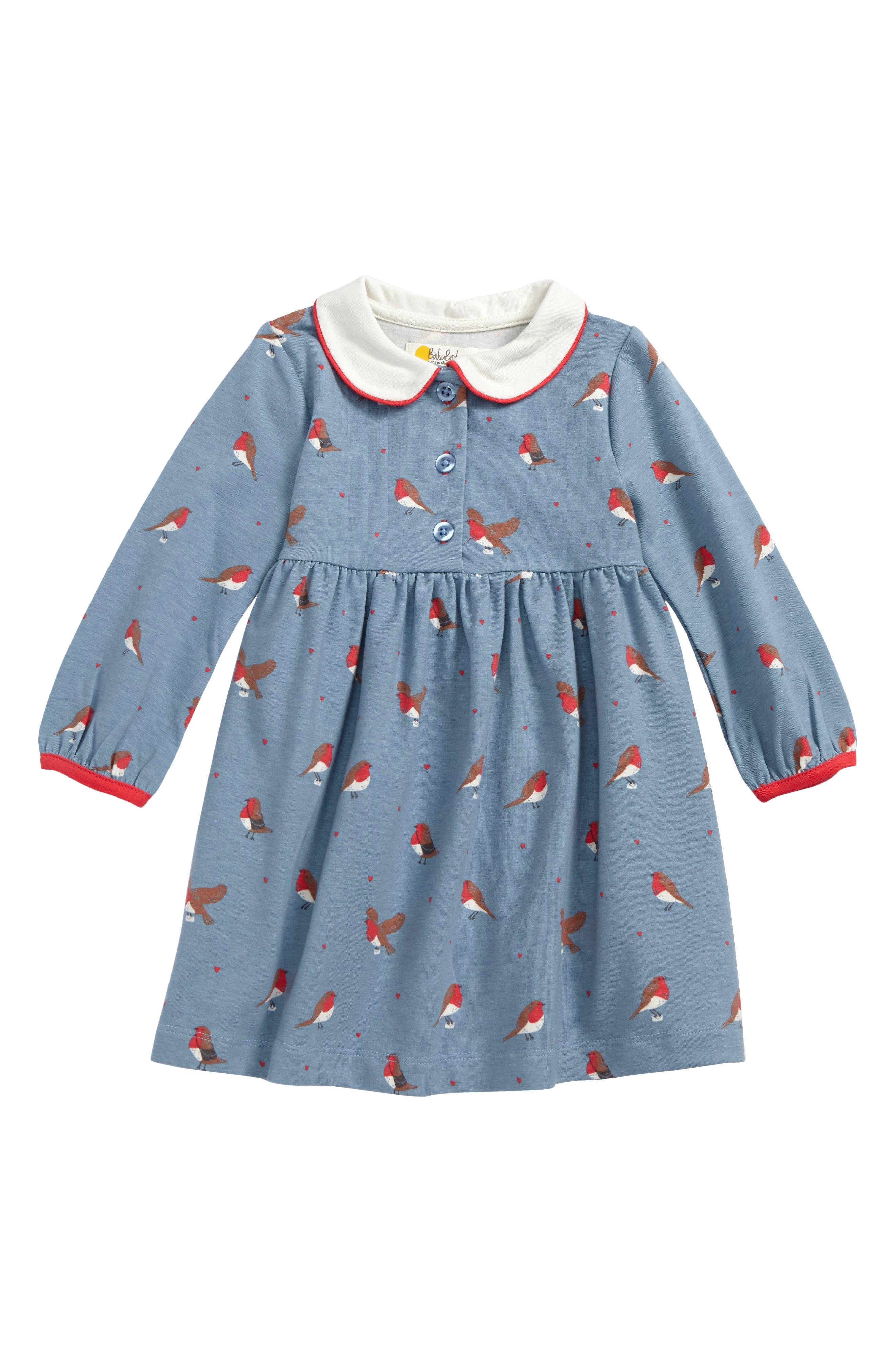 Mini Boden Robins Peter Pan Collar Dress (Baby Girls & Toddler Girls)