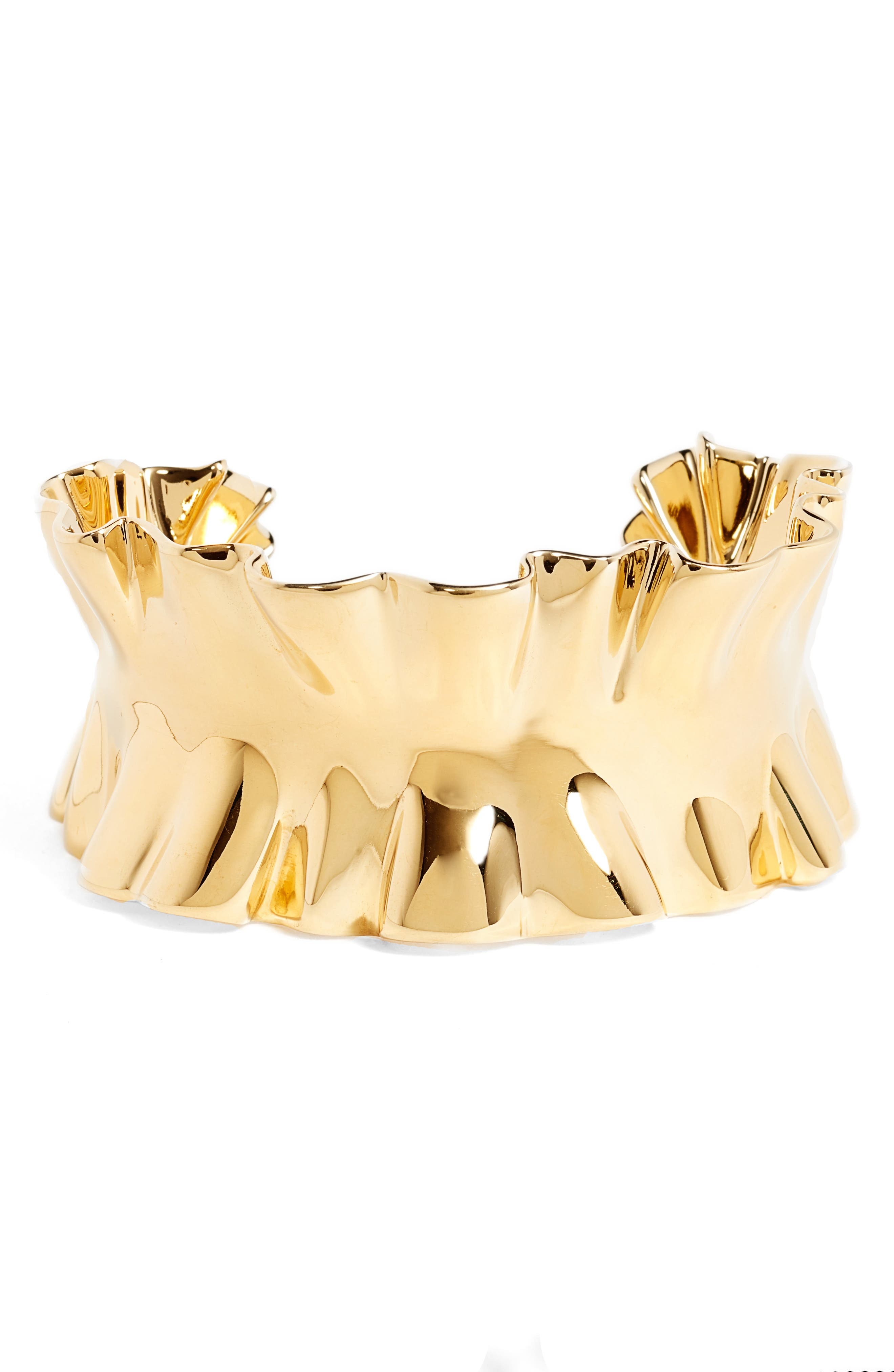 heavy metals statement ruffle cuff,                             Main thumbnail 1, color,                             Gold