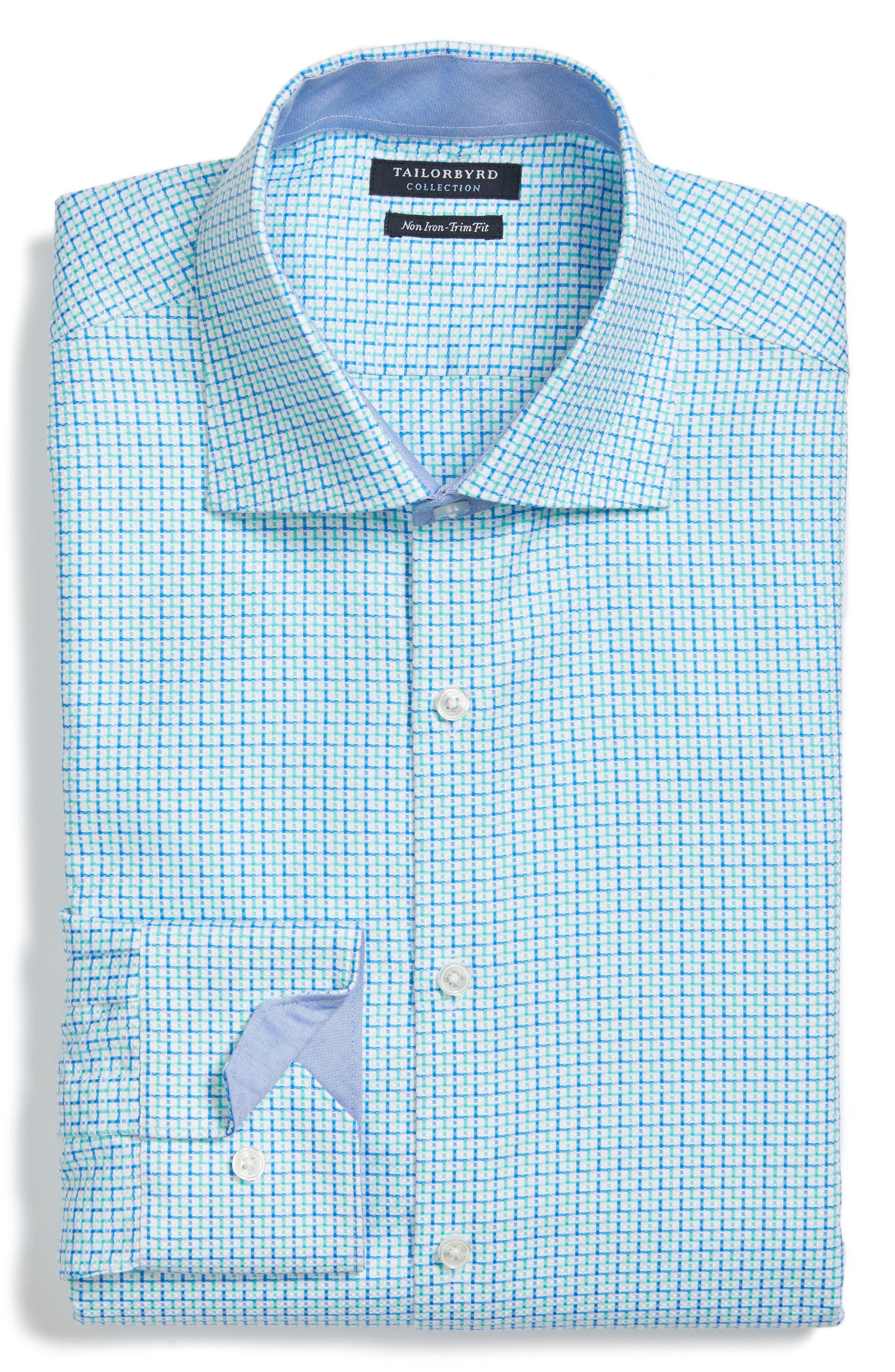 Trim Fit Geometric Dress Shirt,                             Alternate thumbnail 4, color,                             Light Green