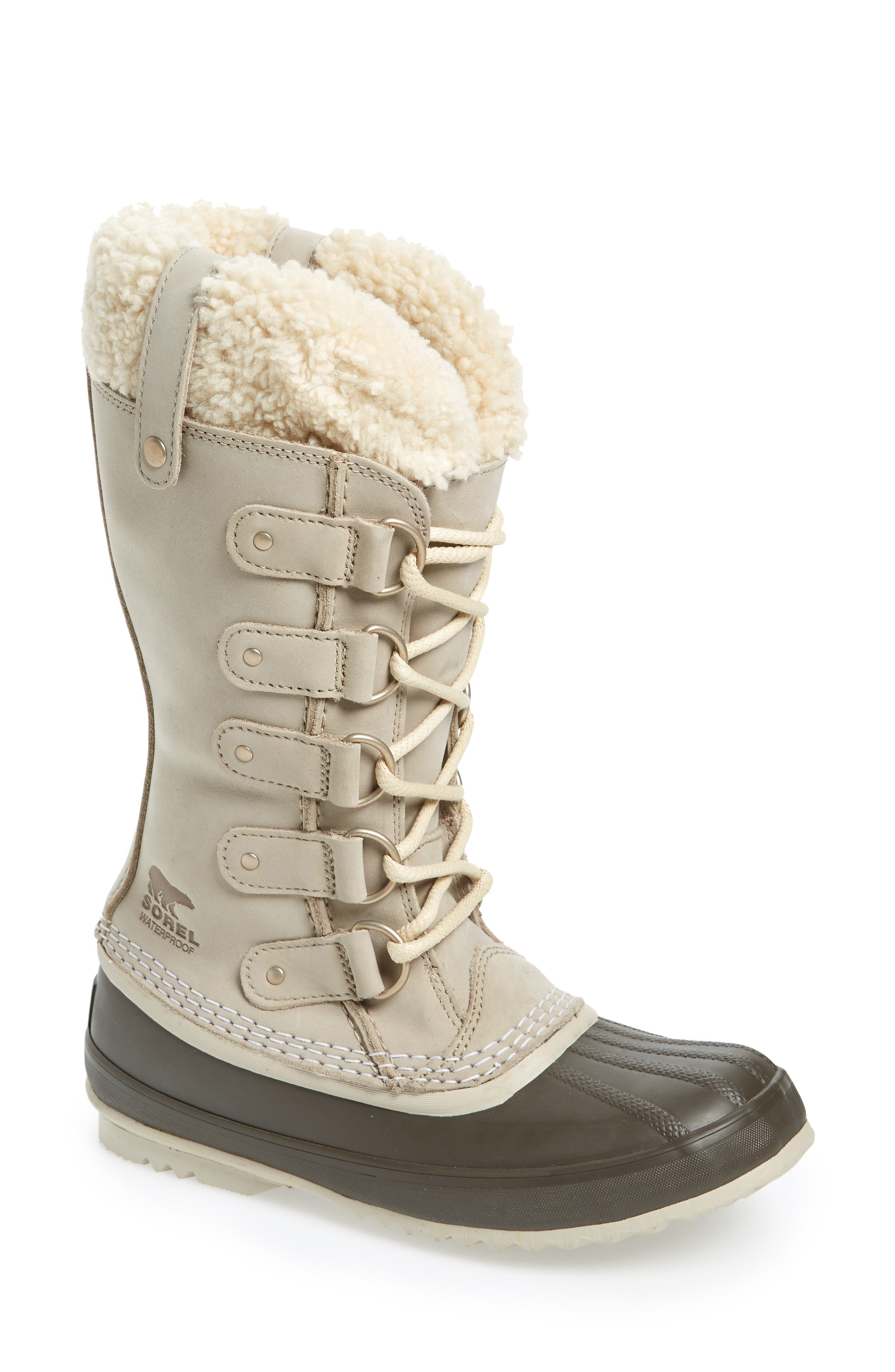 Joan of Arctic<sup>™</sup> Lux Waterproof Winter Boot with Genuine  Shearling Cuff,                         Main,                         color, Ancient Fossil/ Mud