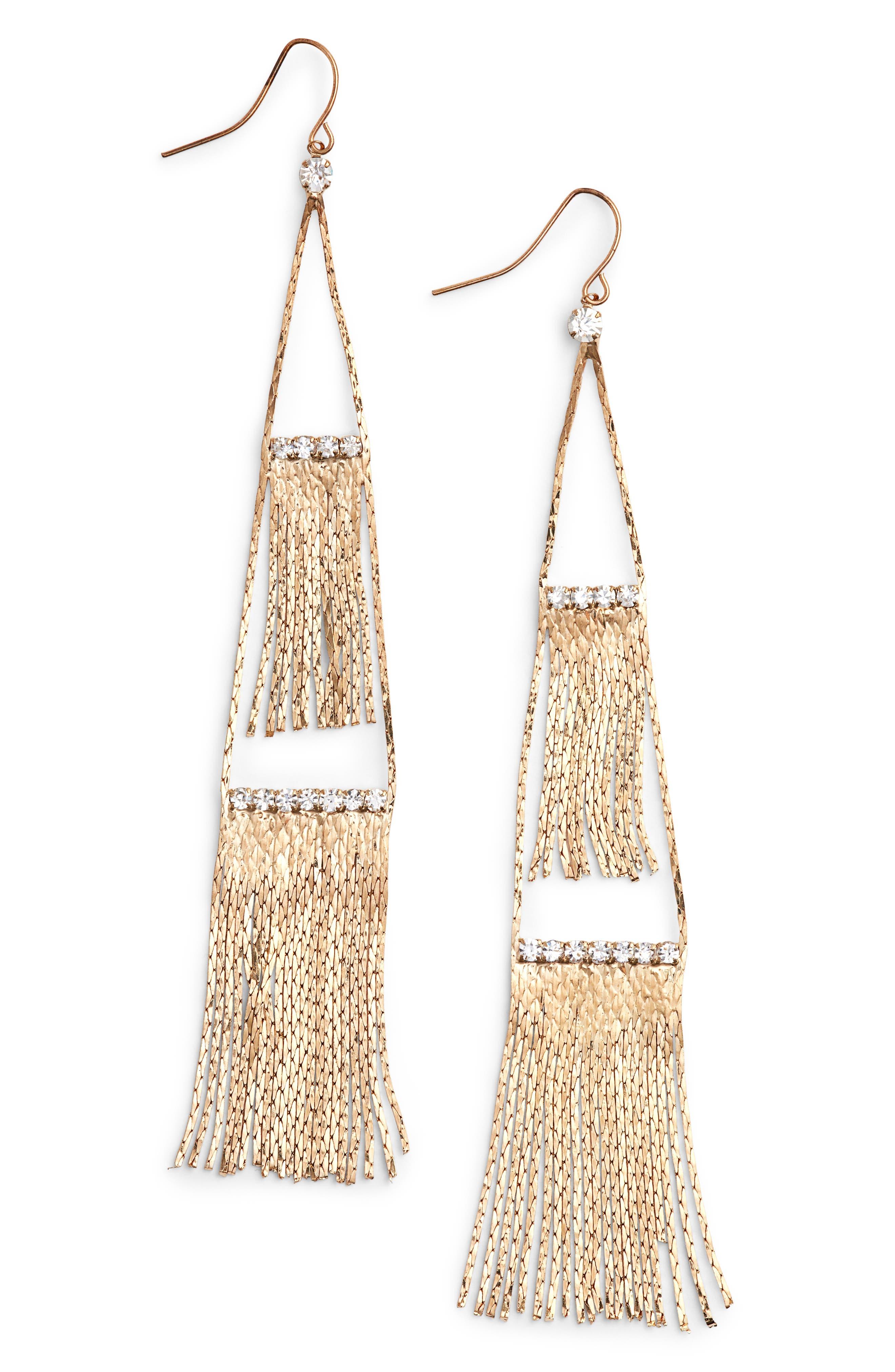 Fringe Drop Earrings,                         Main,                         color, Gold