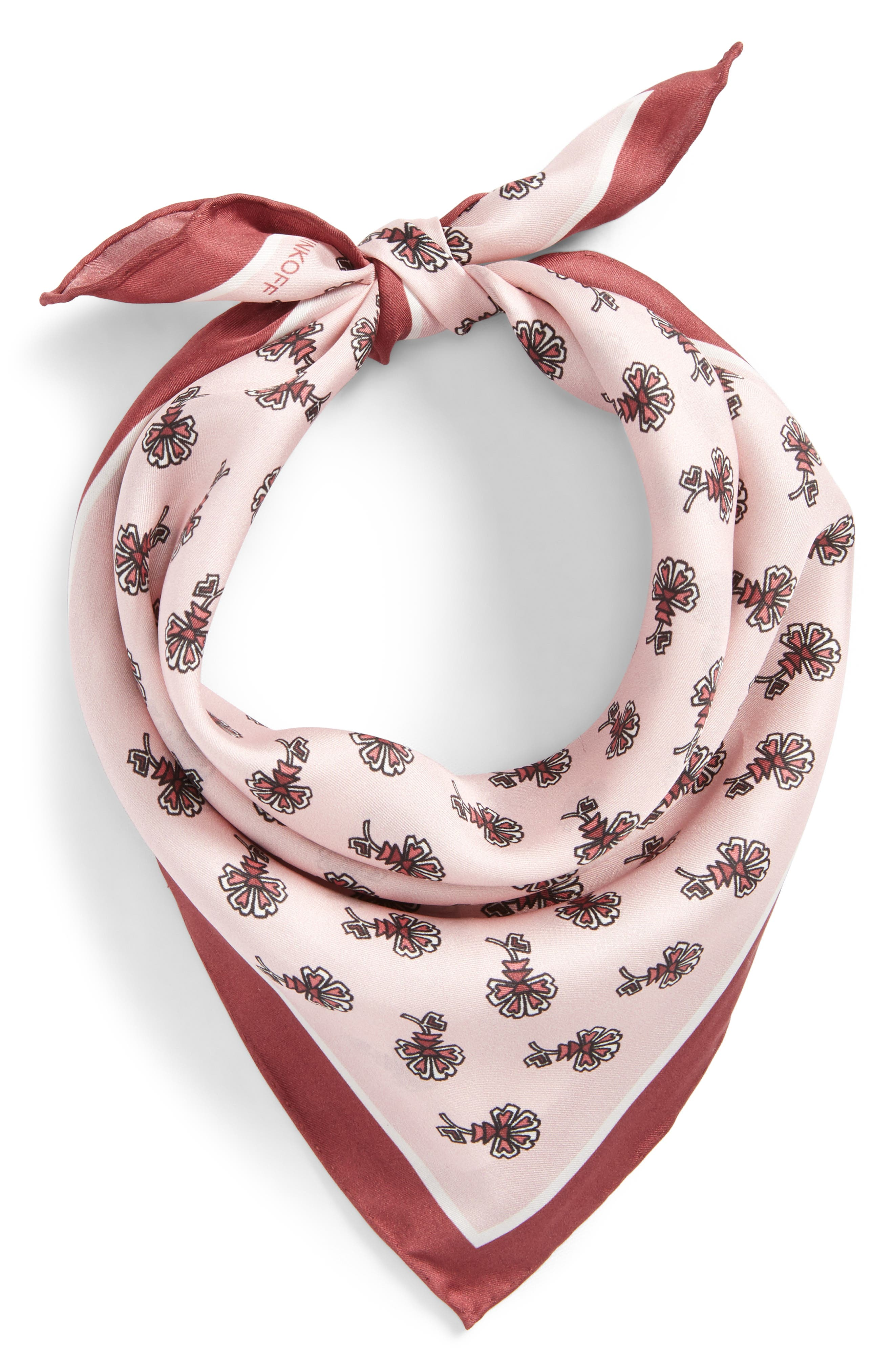 Tiled Rosette Silk Bandana,                         Main,                         color, Zephyr