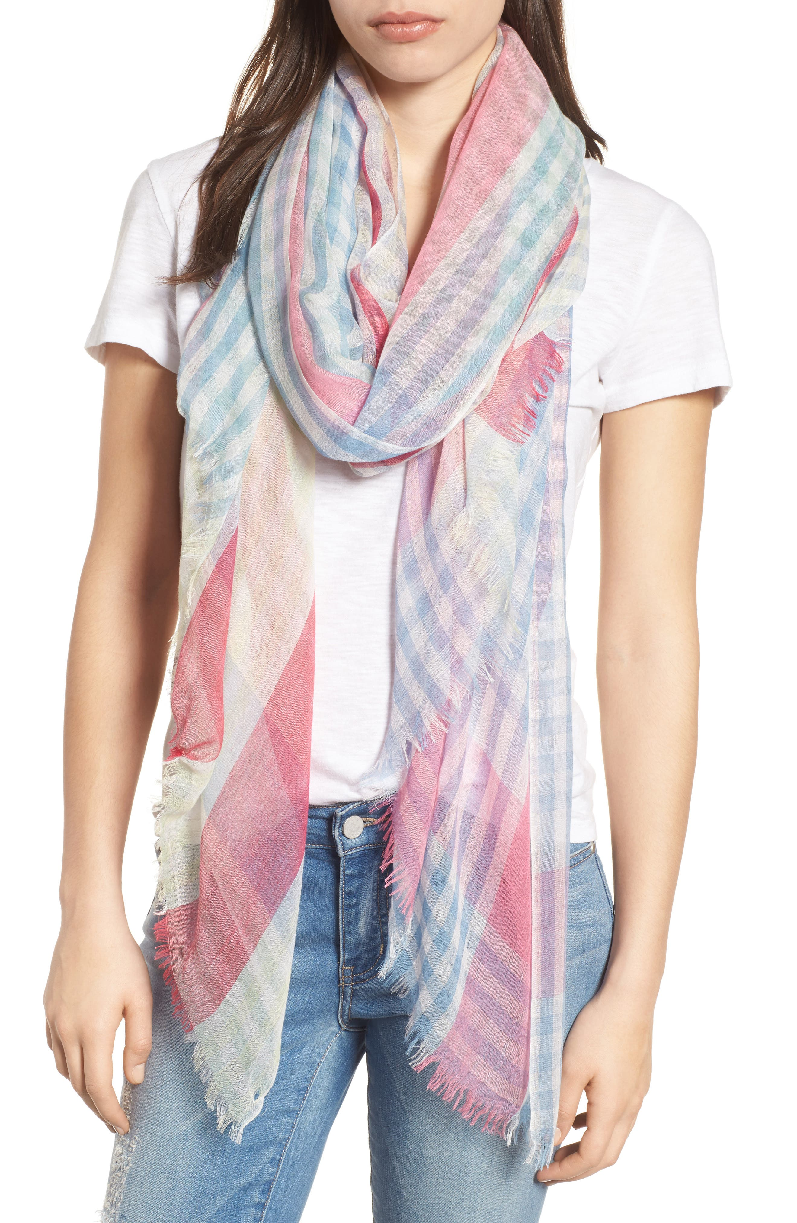 Yarn Dyed Stripe Wrap,                         Main,                         color, Multi Combo Mini Check Wrap