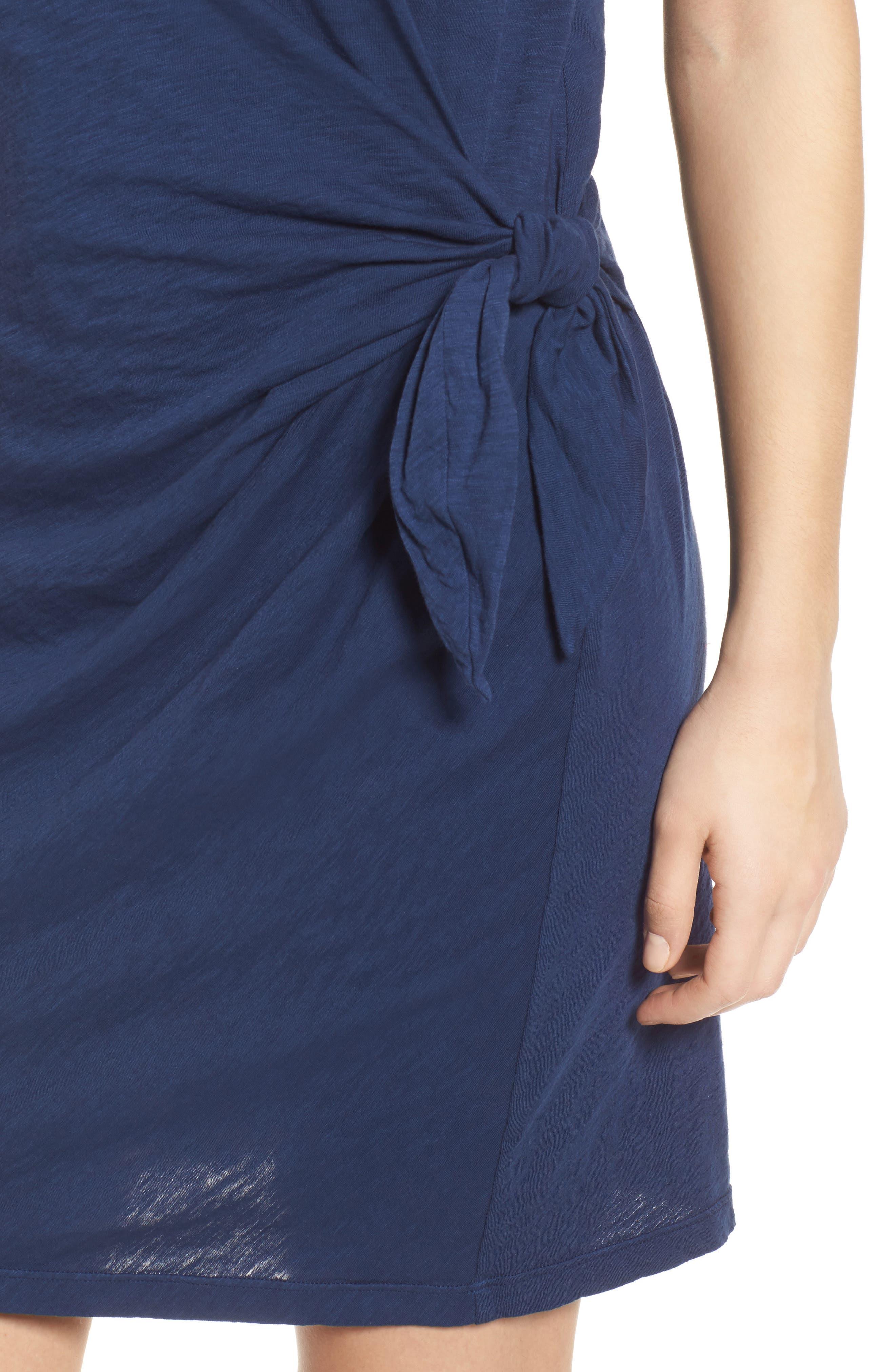 Cotton Slub Tie Waist Dress,                             Alternate thumbnail 4, color,                             Dutch
