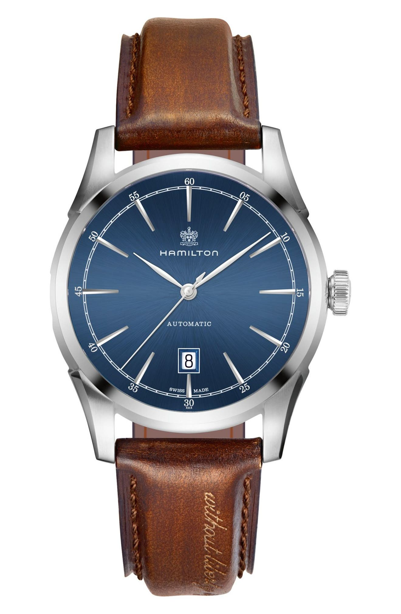 Spirit of Liberty Automatic Leather Strap Watch, 42mm,                         Main,                         color, Brown/ Navy/ Silver