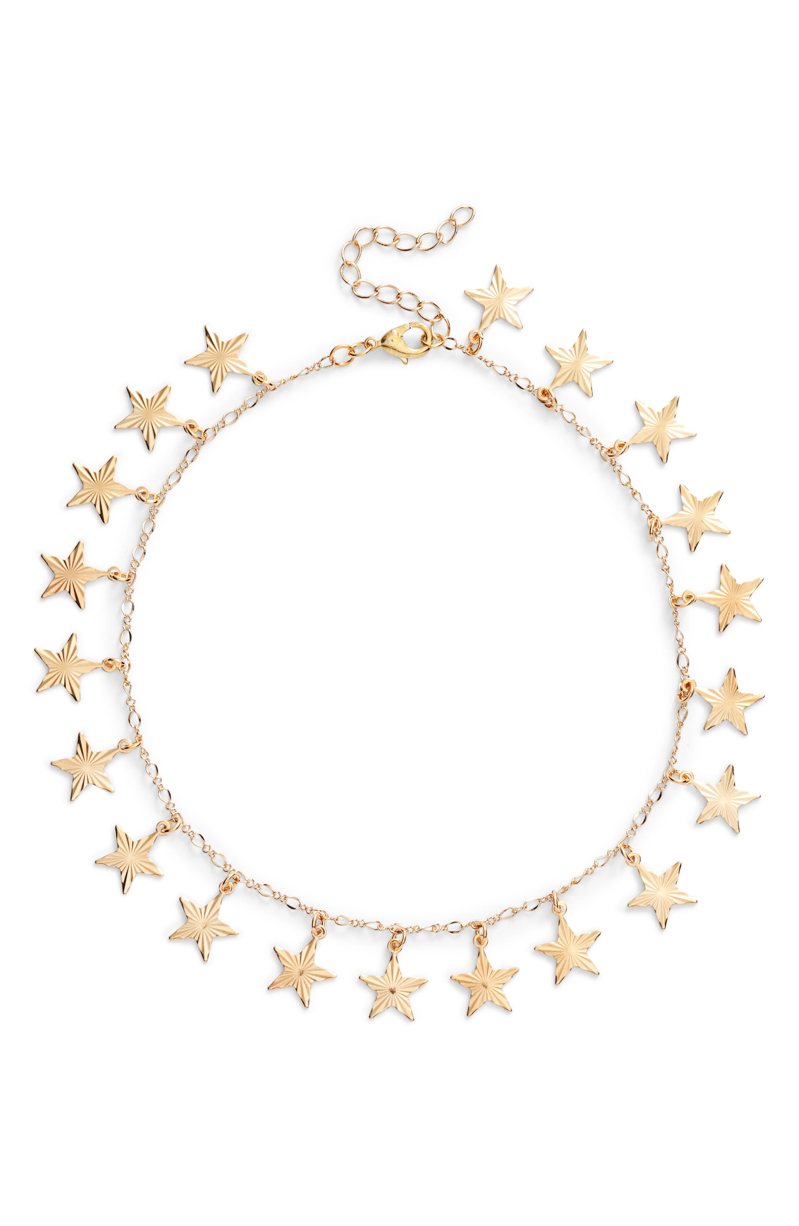 Twinkle Star Charm Choker,                             Main thumbnail 1, color,                             Gold