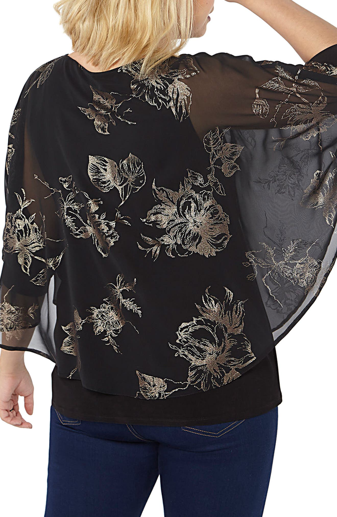 Flower Overlay Top,                             Alternate thumbnail 3, color,                             Dark Multi