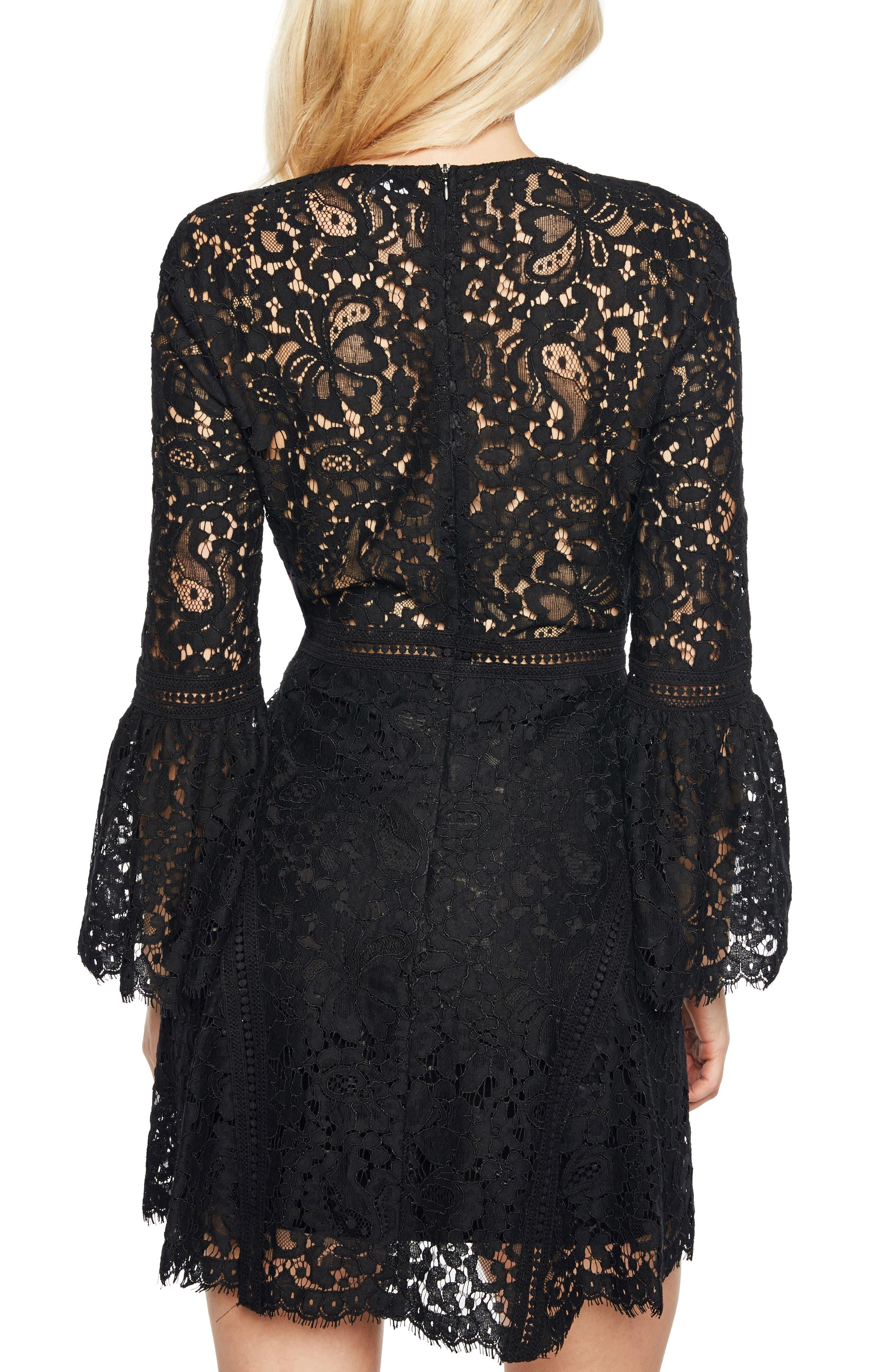 Midnight Lace Minidress,                             Alternate thumbnail 2, color,                             Black 2
