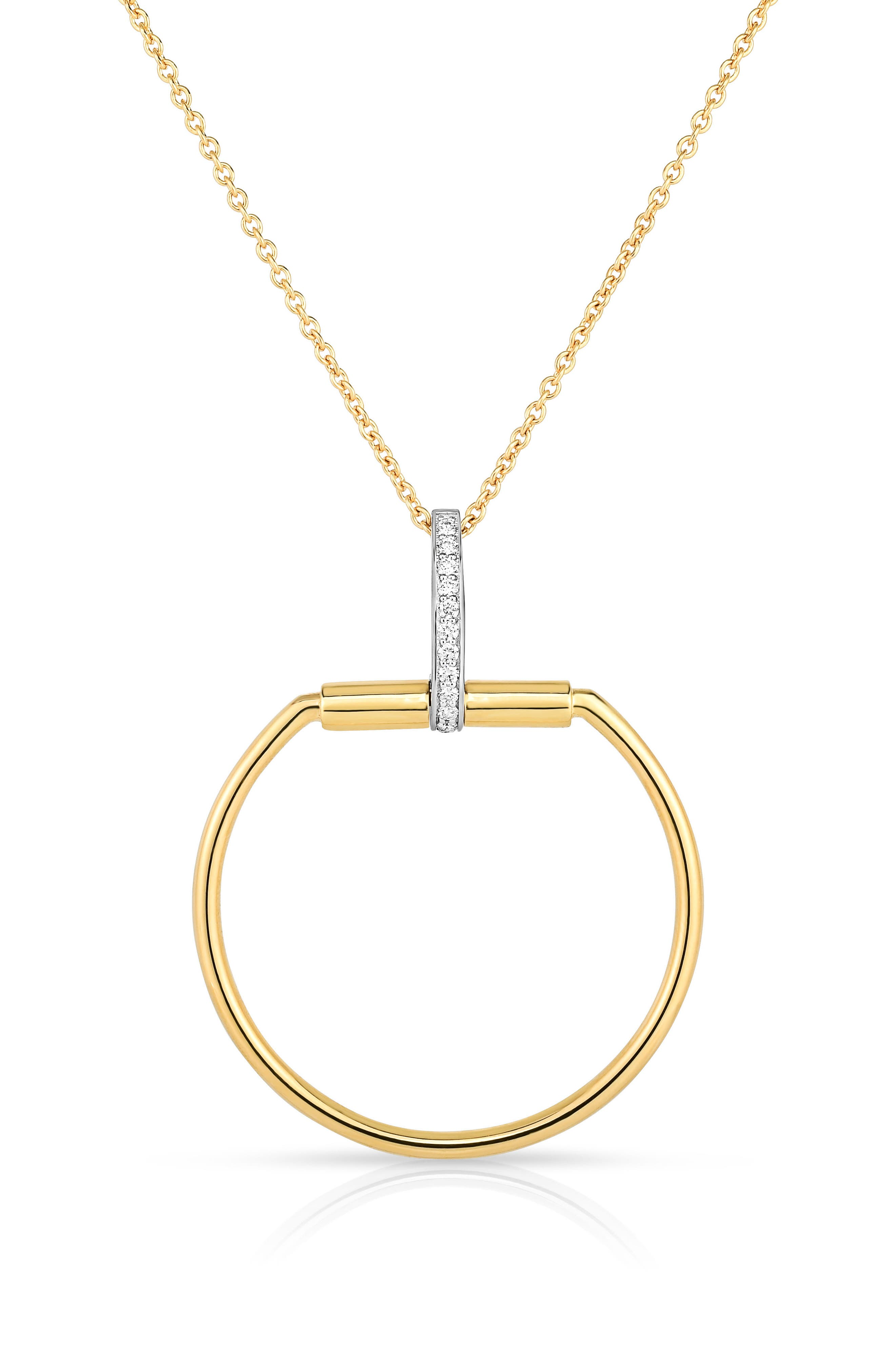 Classica Parisienne Diamond Pendant Necklace,                             Main thumbnail 1, color,                             Yellow Gold
