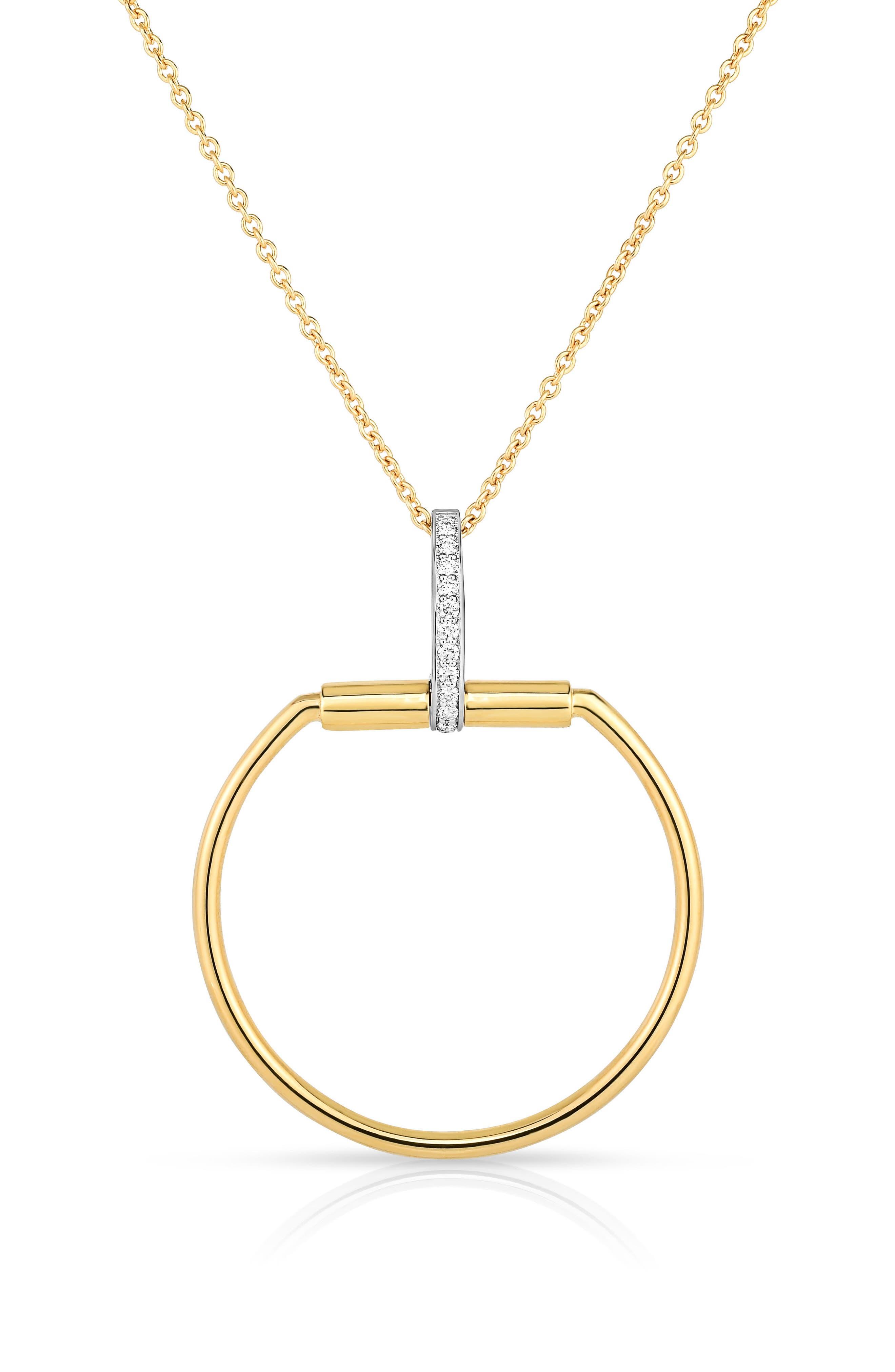 Classica Parisienne Diamond Pendant Necklace,                         Main,                         color, Yellow Gold